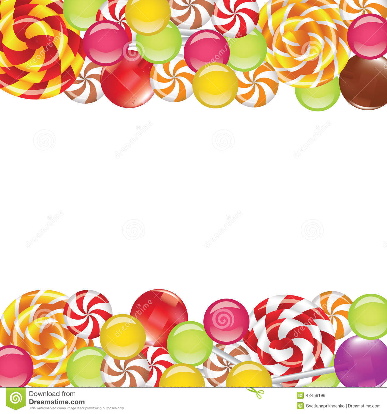 borders with candies and lollipops stock illustration