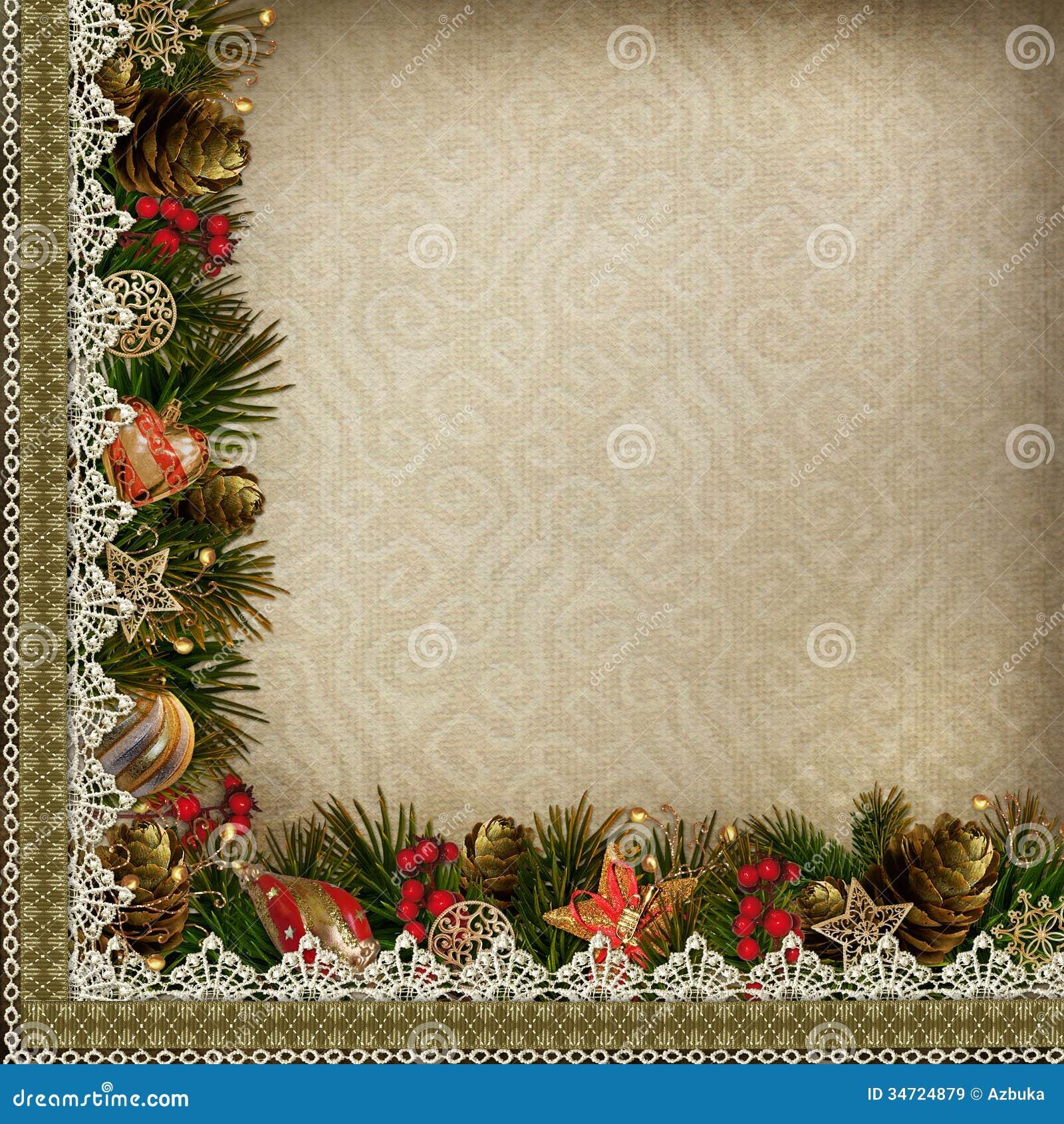 #AD1F1E Borders Of Christmas Decorations With Lace On Vintage  5535 décorations de noel vintage 1300x1390 px @ aertt.com