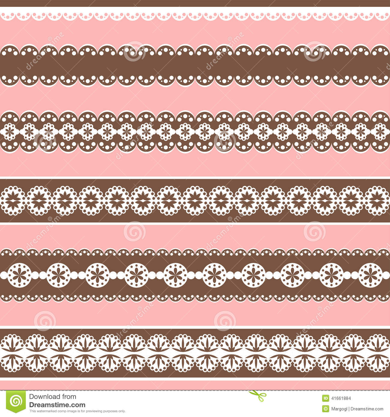 Borders Collection Design Elements For Scrapbook Stock Vector