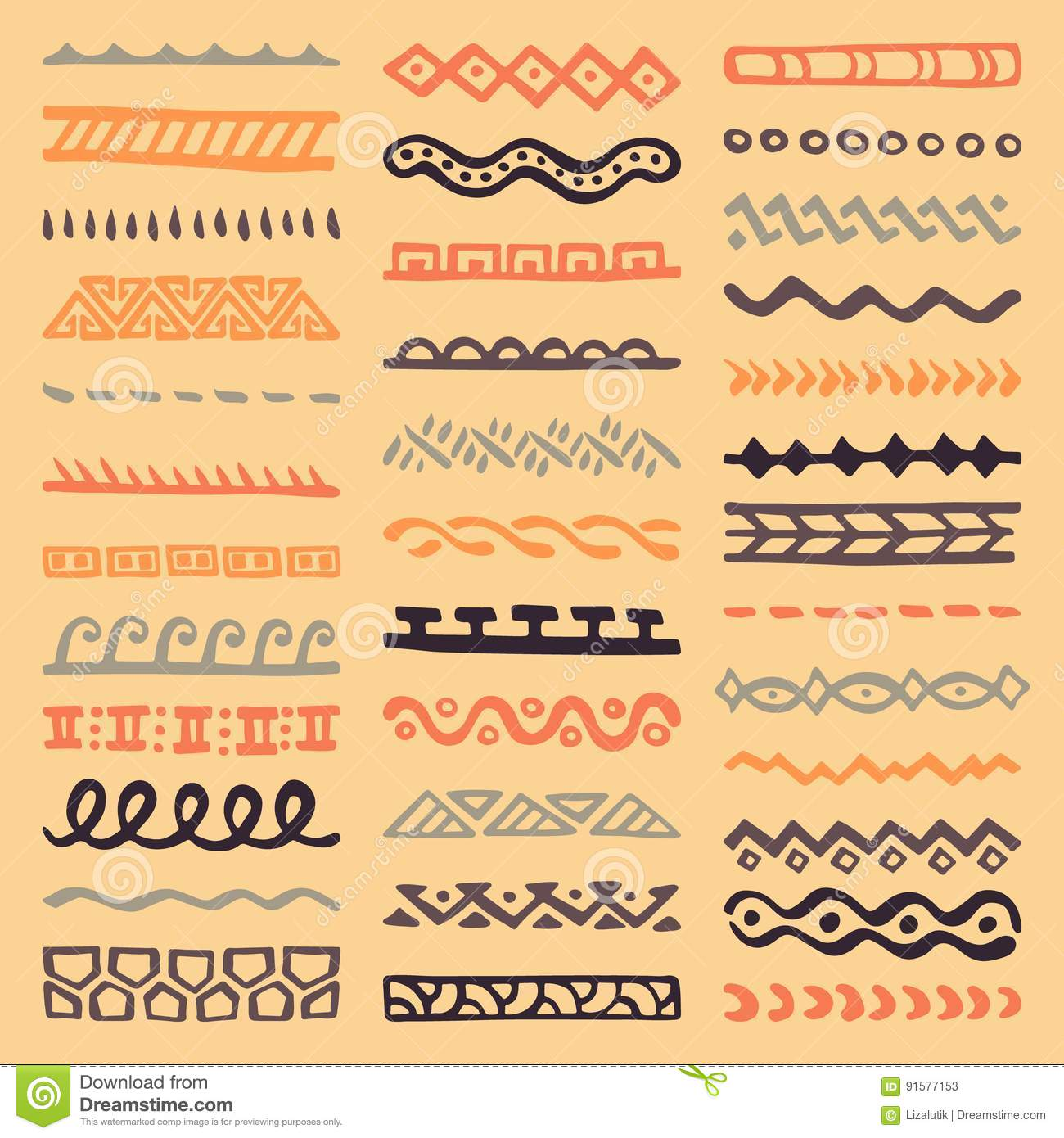 f1f9b4f34f85c Borders Collection In Ethnic Style Stock Vector - Illustration of ...