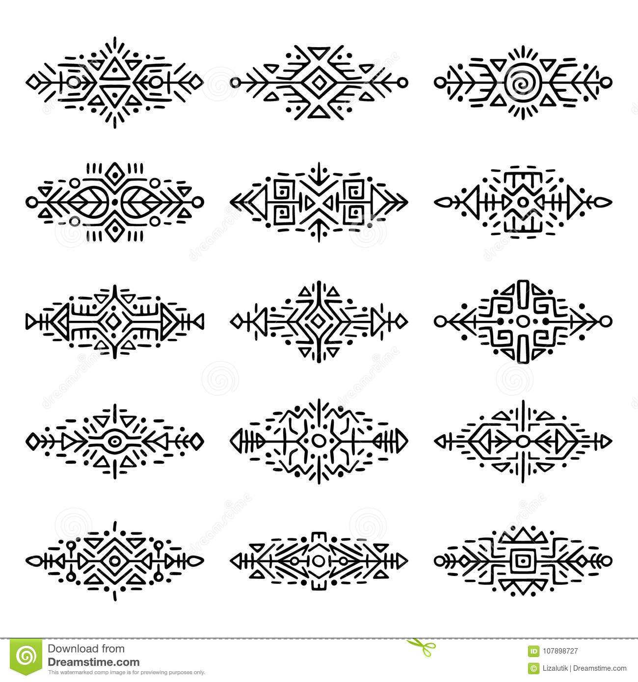 d85ce5a77ca68 Collection of Hand Drawn Borders in Ethnic Style. Aztec art dividers.  Trendy boho separators. Tattoo design.