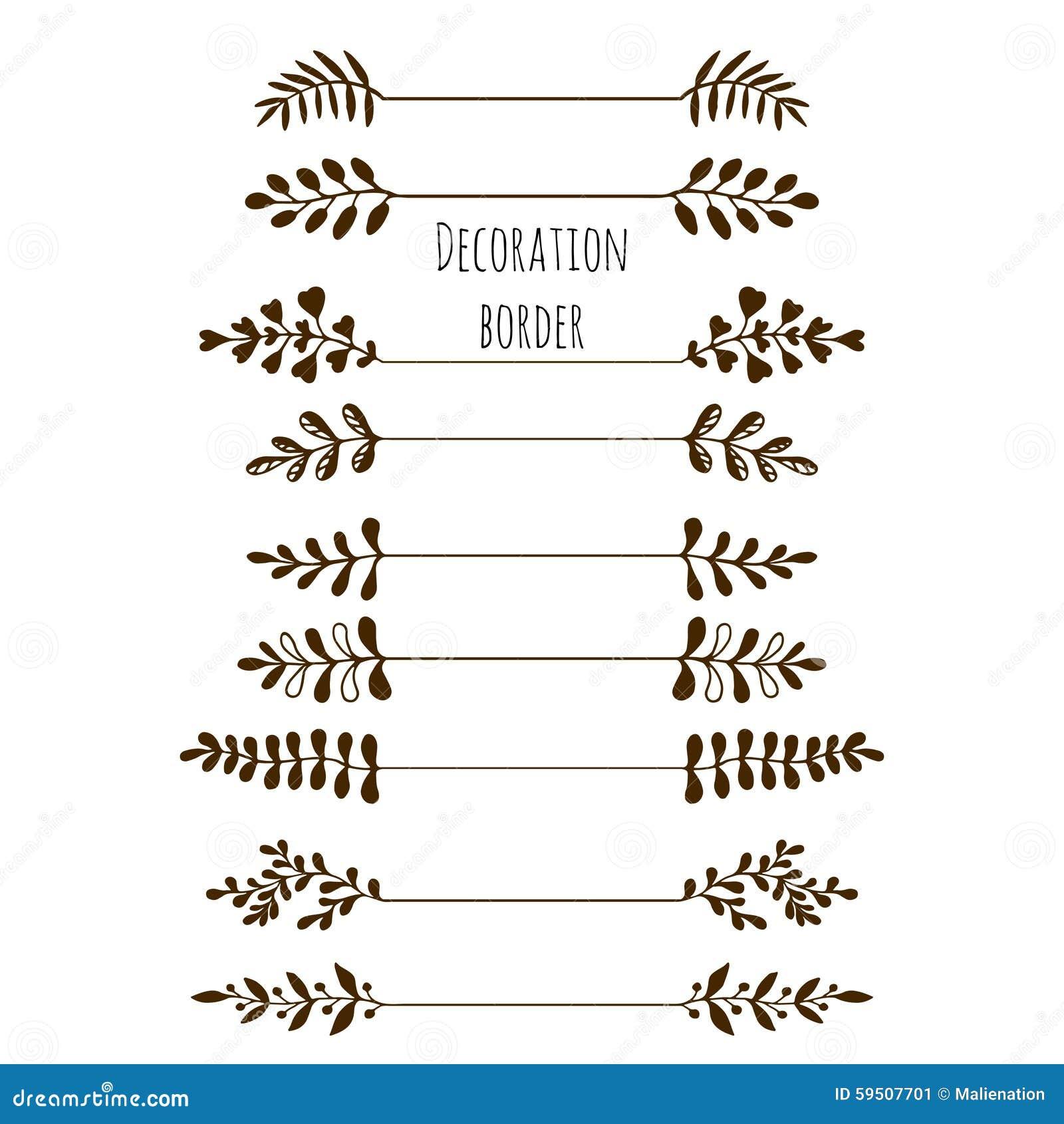 Borders dekorativt Hand dragen tappninggränsuppsättning med sidor, filialer