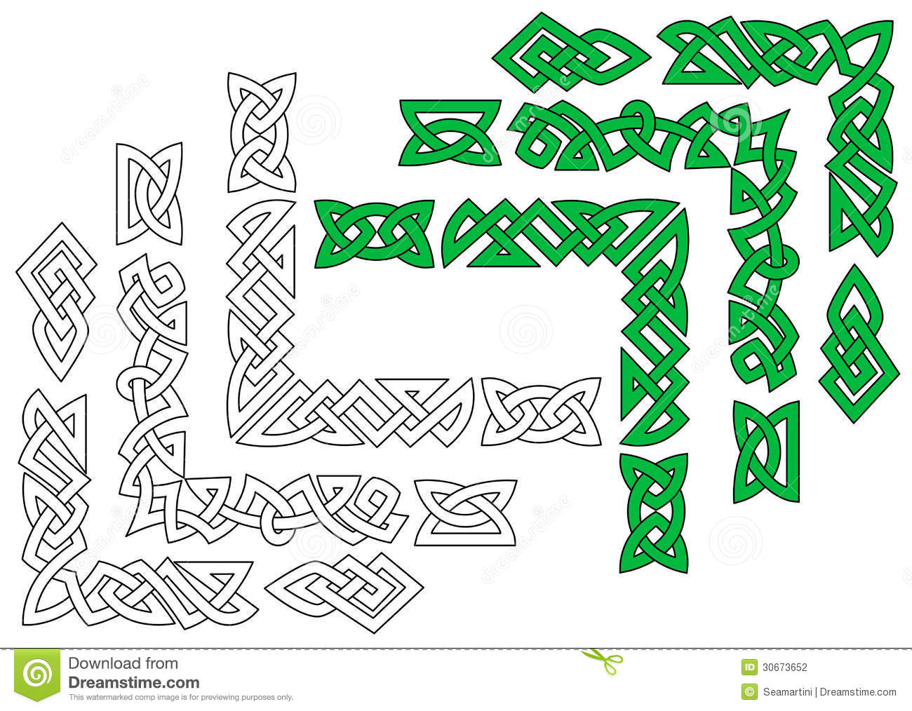 Borders and patterns in celtic ornament style for design and ornate.