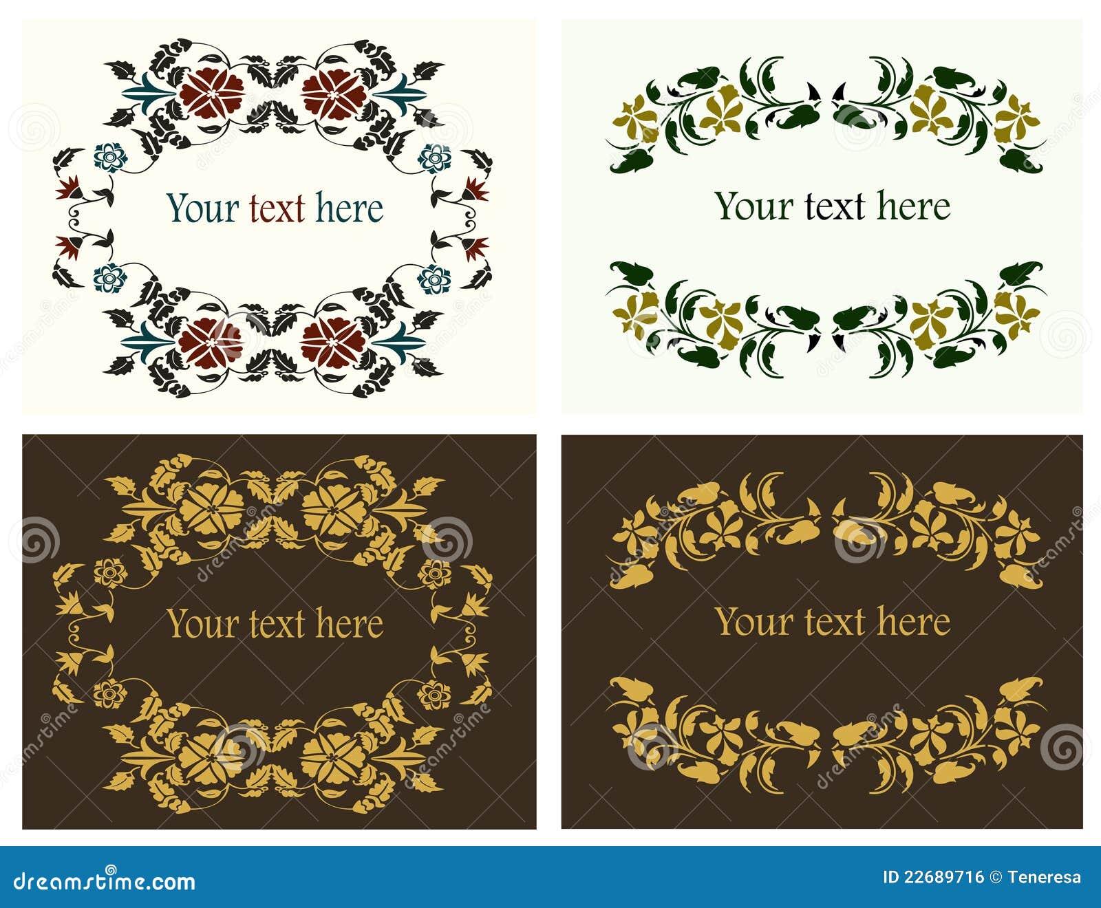 Bordi decorativi del fiore impostati illustrazione for Bordi decorativi