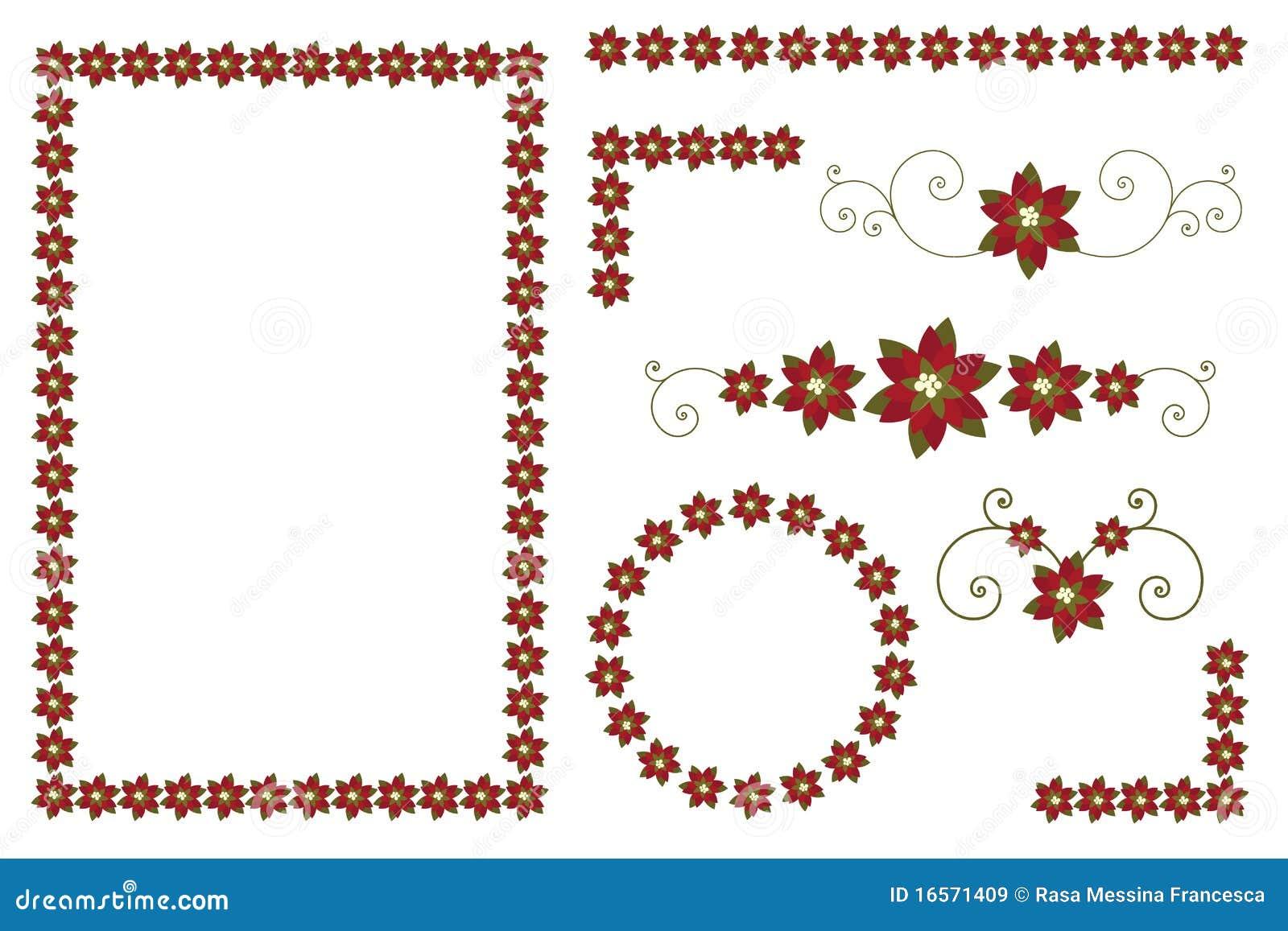 Bordi e decorazioni del poinsettia di natale illustrazione for Bordi decorativi