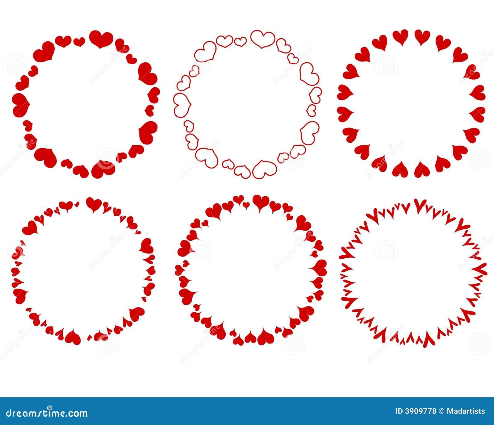 Bordi rossi decorativi dei cuori del cerchio illustrazione for Bordi decorativi