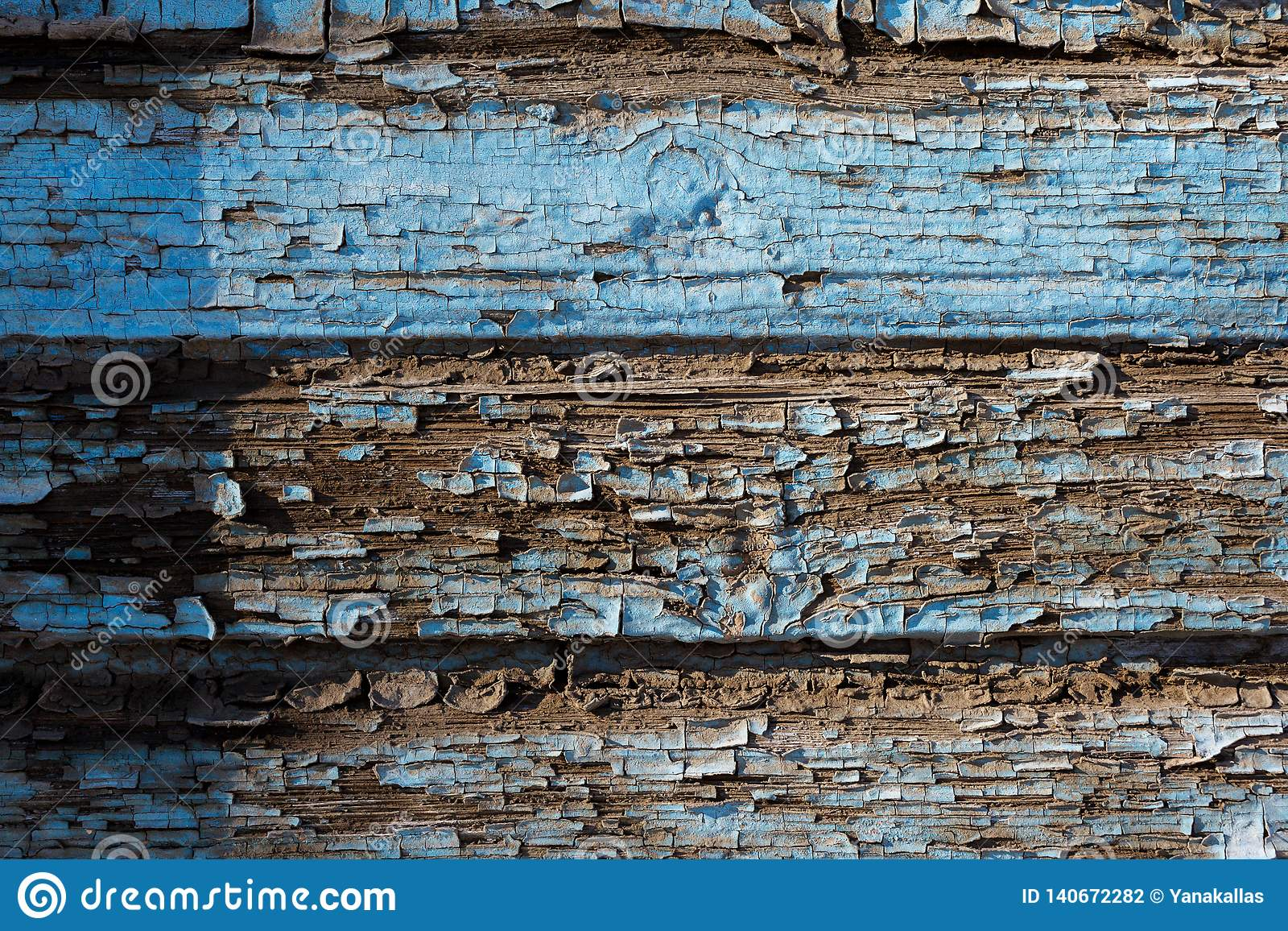 Bordo blu dipinto anziano con pittura pelata Struttura della struttura di legno Primo piano