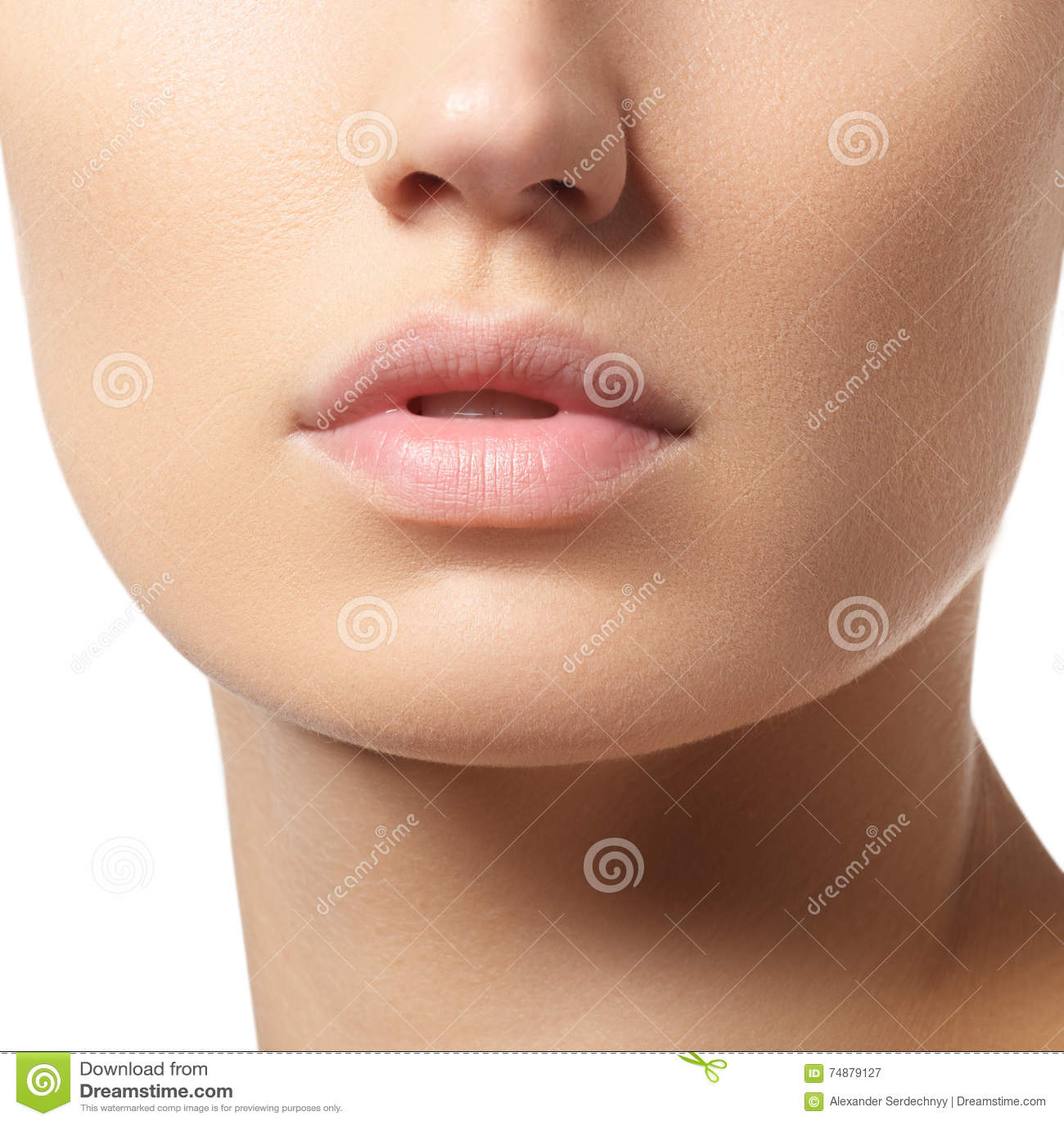 Bordos perfeitos Close-up  sexy  da boca da menina Jovem mulher da beleza