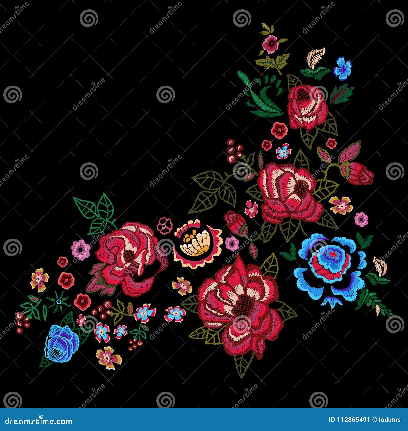 Borduurwerk rode en blauwe rozen, vector geborduurd bloemenontwerp