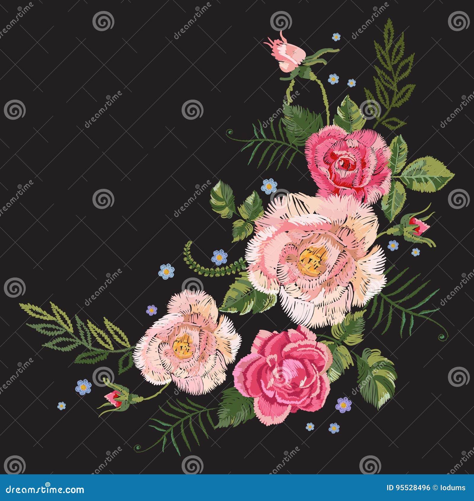 Borduurwerk traditioneel botanisch patroon met roze rozen en voor