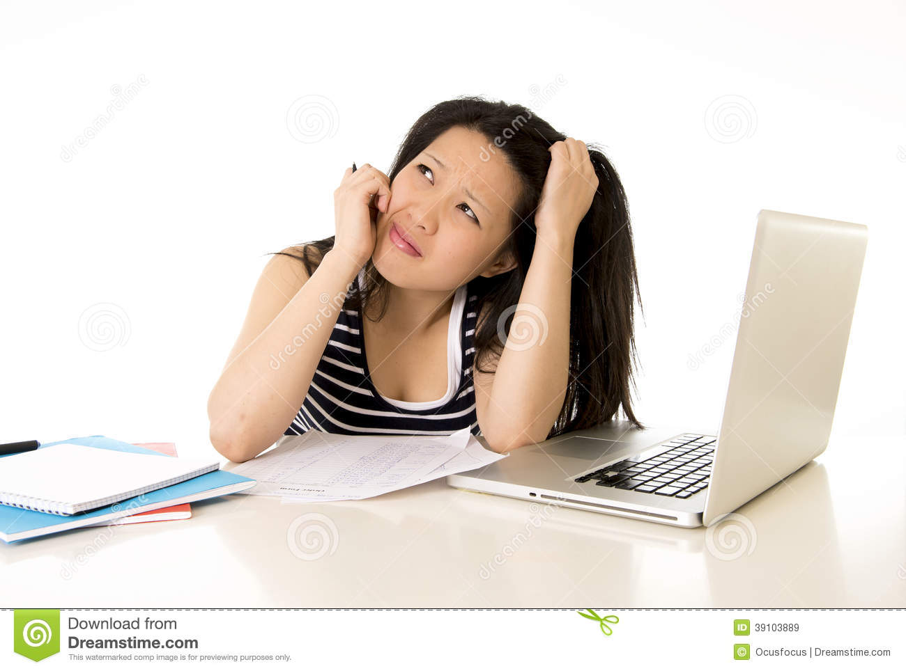 bored asian woman student overworked on computer stock image image