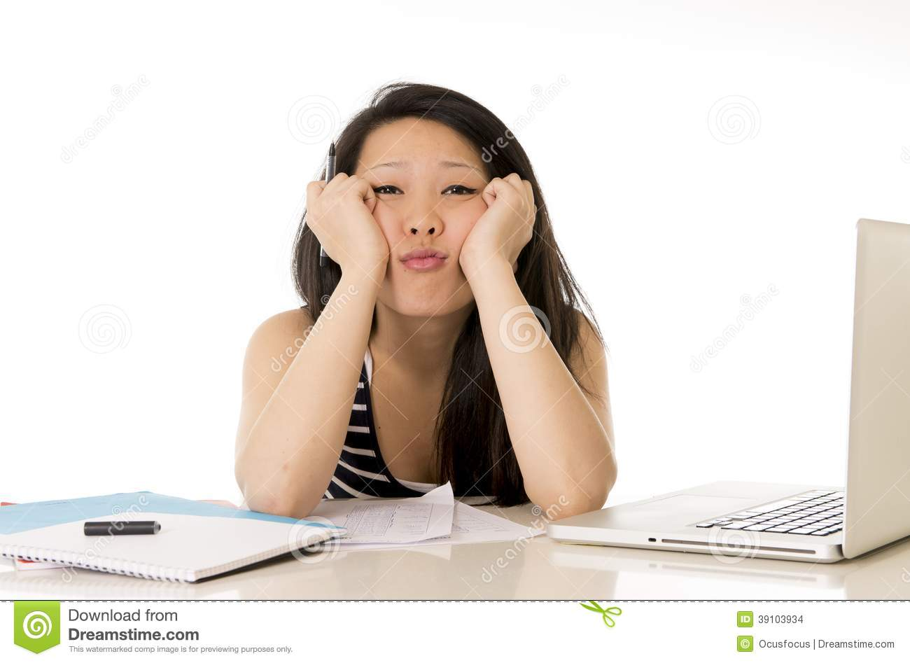 Bored Asian Woman Student Overworked On Computer Stock ...