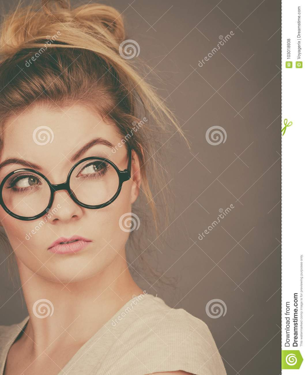 Only blonde teen nerdy glasses