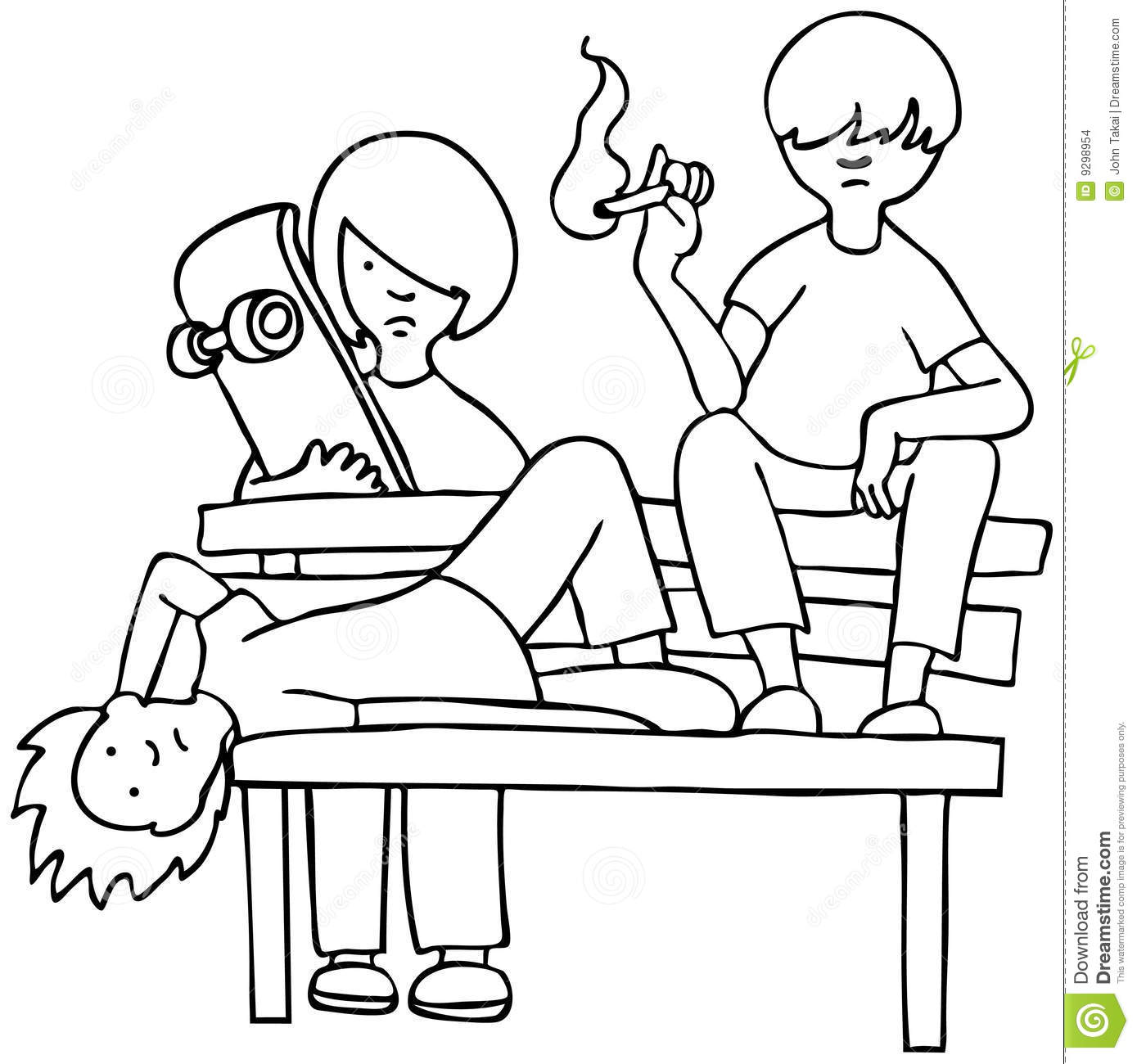 Bored Kids Black And White Stock Vector Illustration