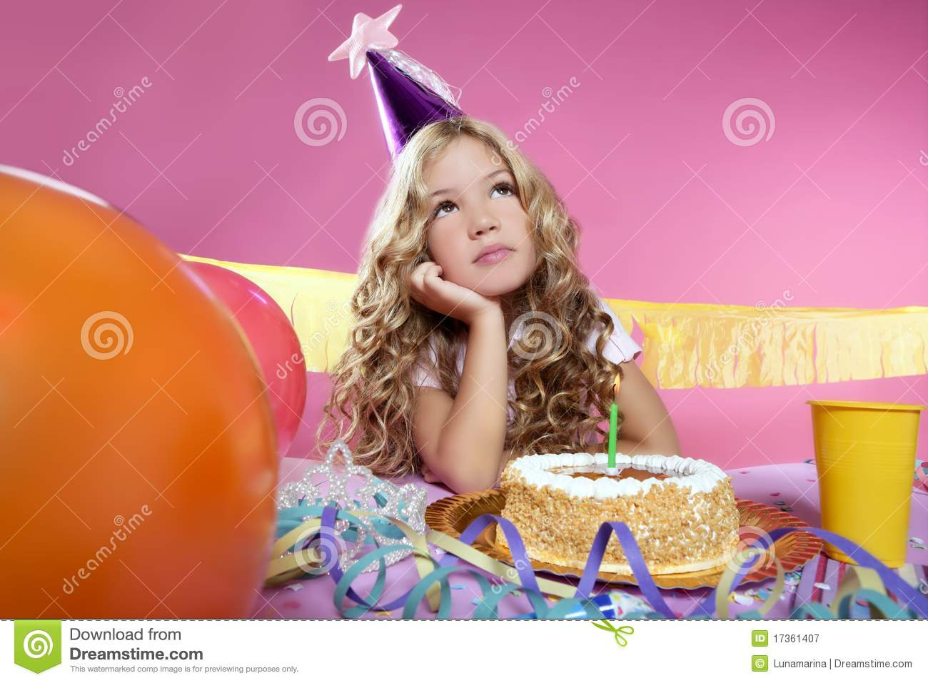 Bored Little Blond Girl Birthday Party