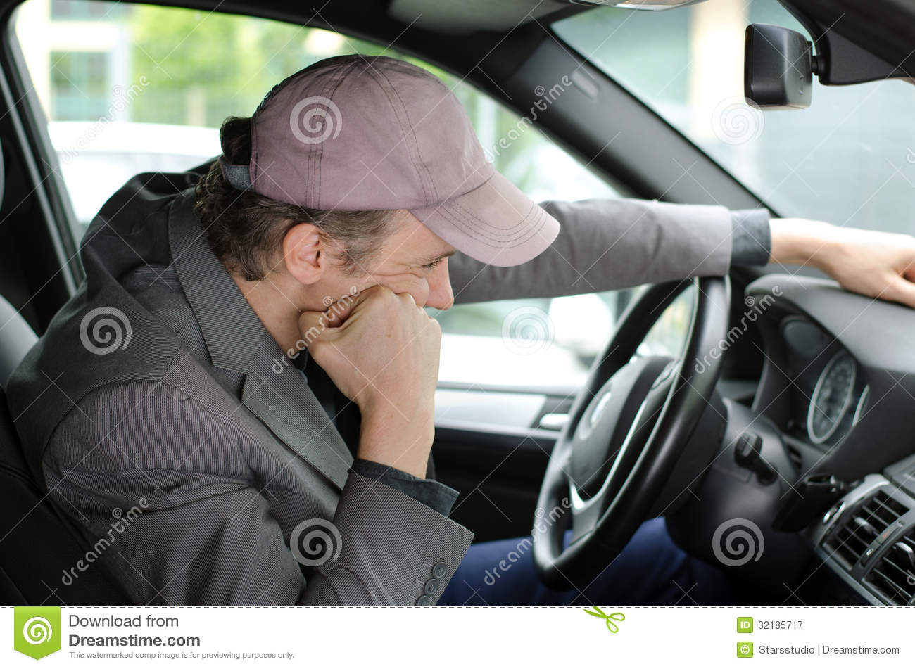 Bored Man On His Car Waiting In A Traffic Jam Stock Image ...
