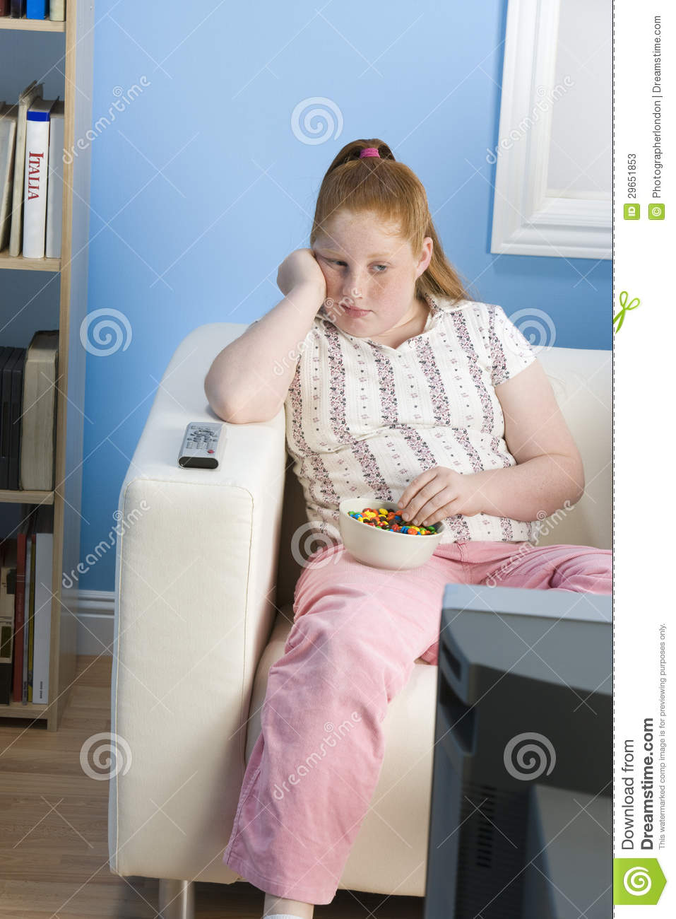 Bored Obese Girl Watching Television Stock Photos Image