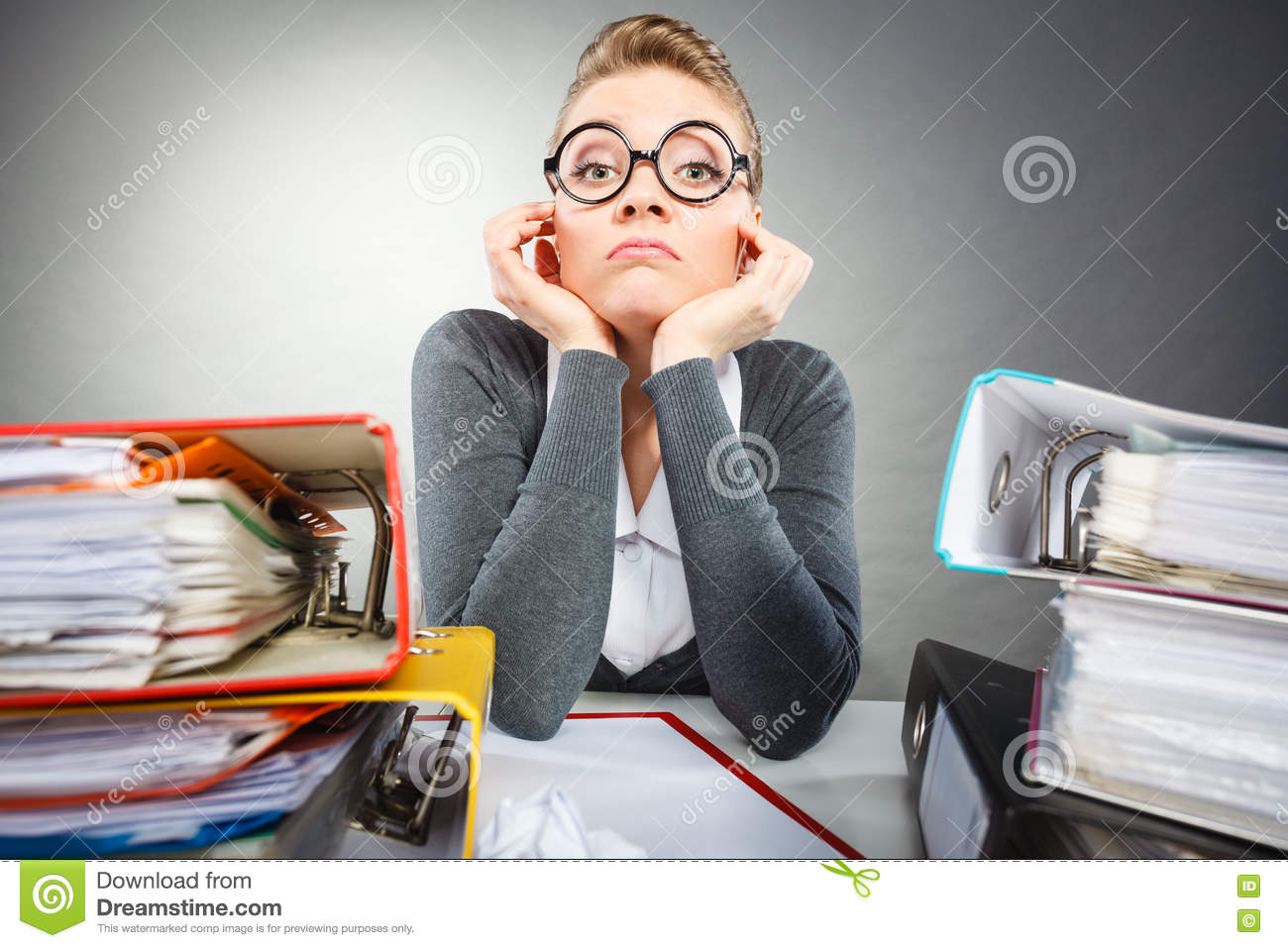 Boring Office Job : Bored office employee at work stock photo image