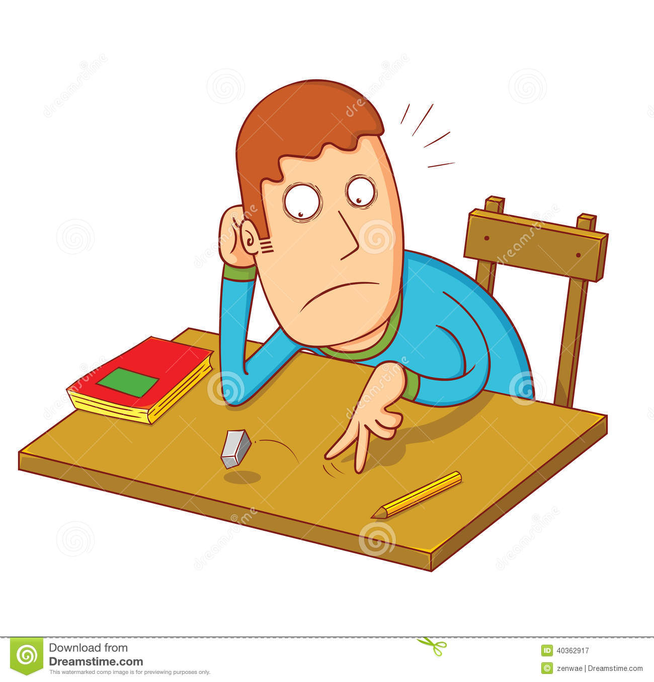 Bored Student Stock Vector Image 40362917