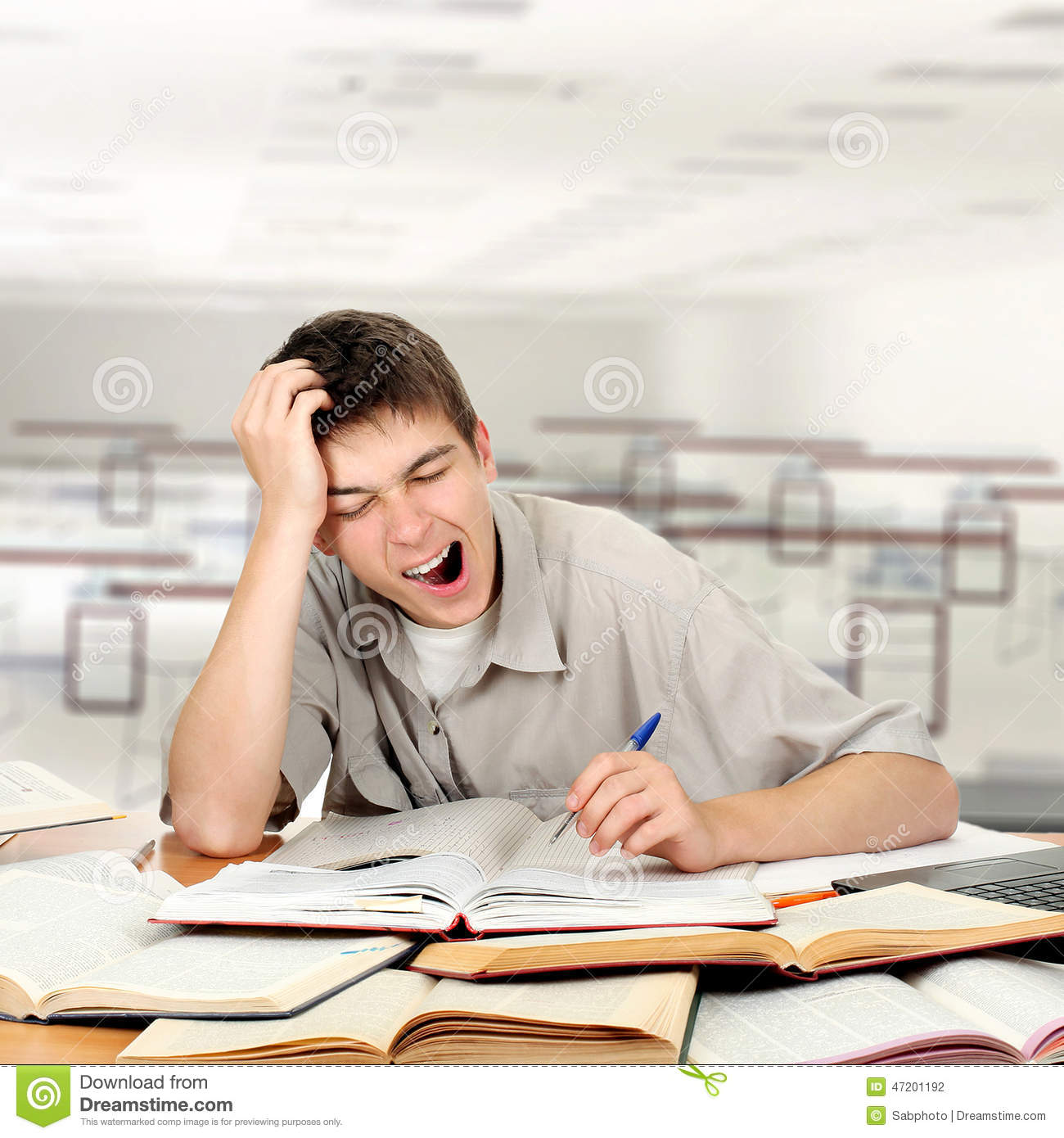 Bored Student stock photo. Image of indoor, problem, male ...