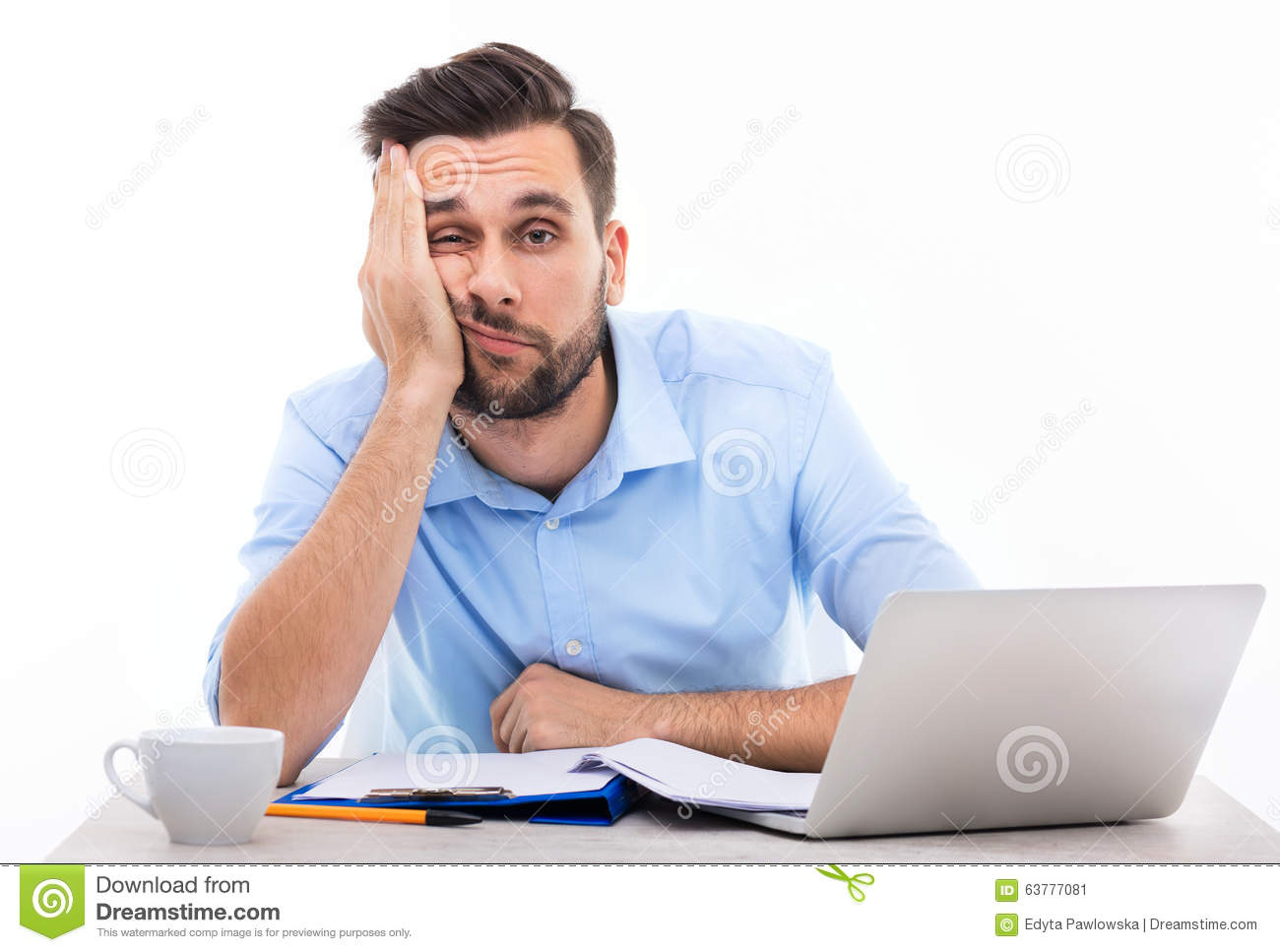 Bored Young Man At The Desk Stock Image Image Of Office