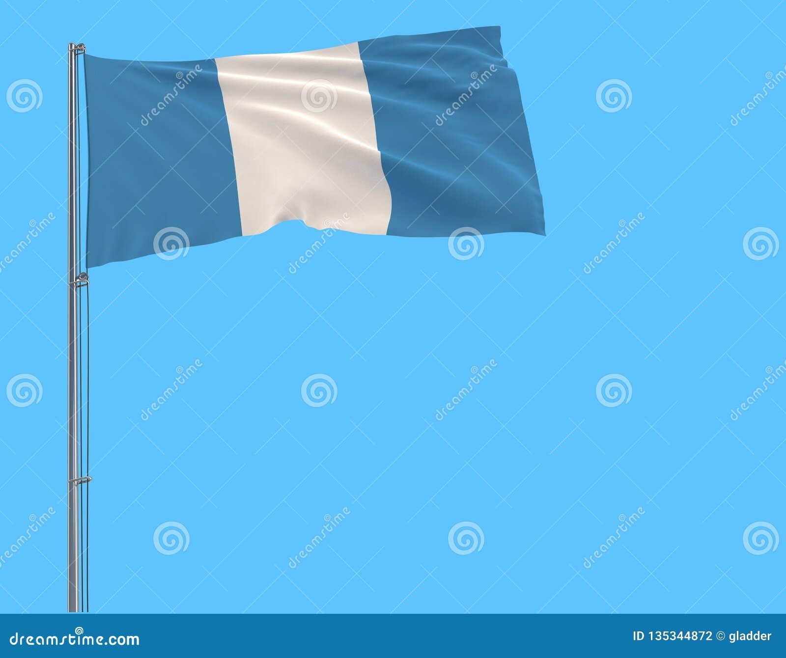 Borgerlig flagga för isolat av Guatemala på en flaggstång som fladdrar i vinden på en blå bakgrund