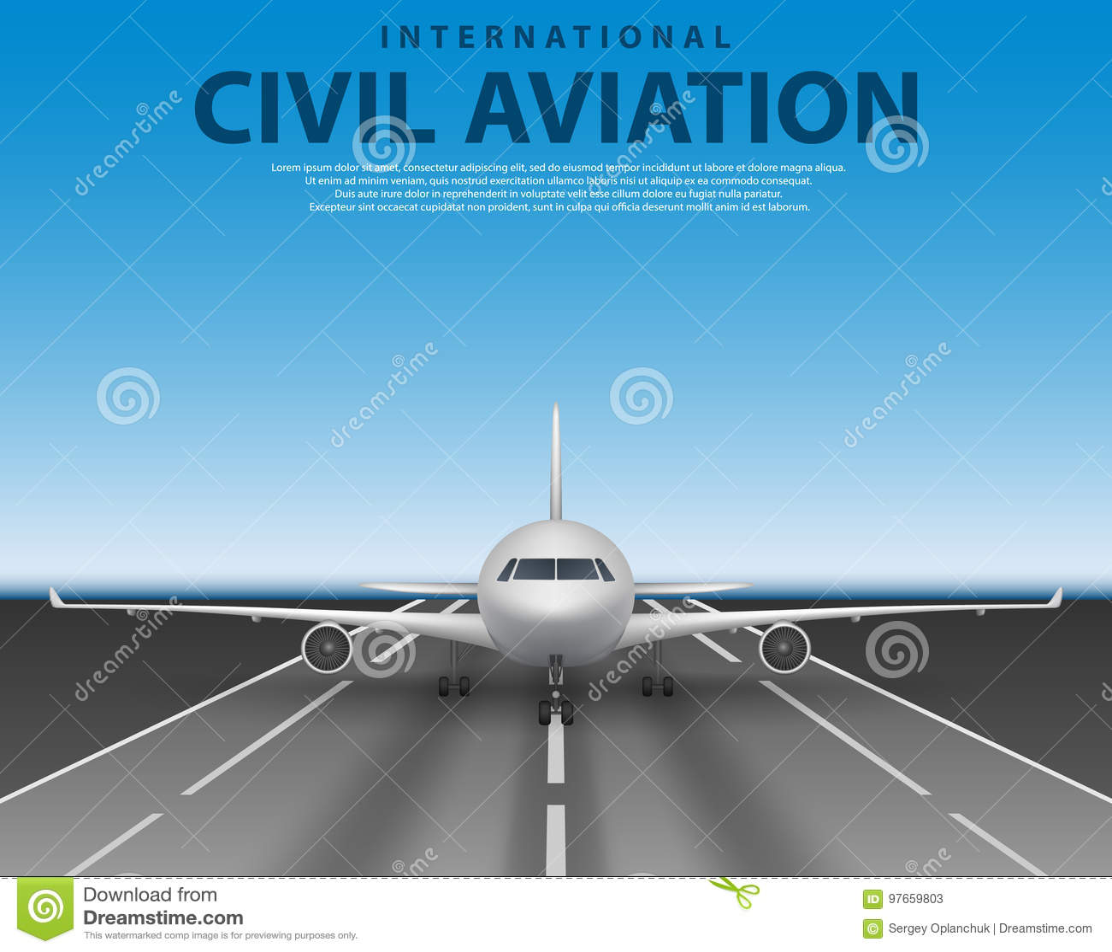 Borgerlig passageraretrafikflygplanstråle på landningsbana Främre sikt för kommersiellt realistiskt flygplanbegrepp Nivå i blå hi