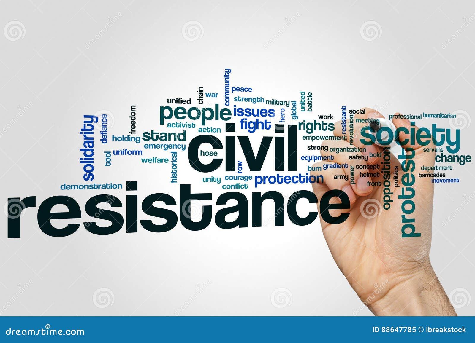 Borgerligt begrepp för motståndsordmoln på grå bakgrund