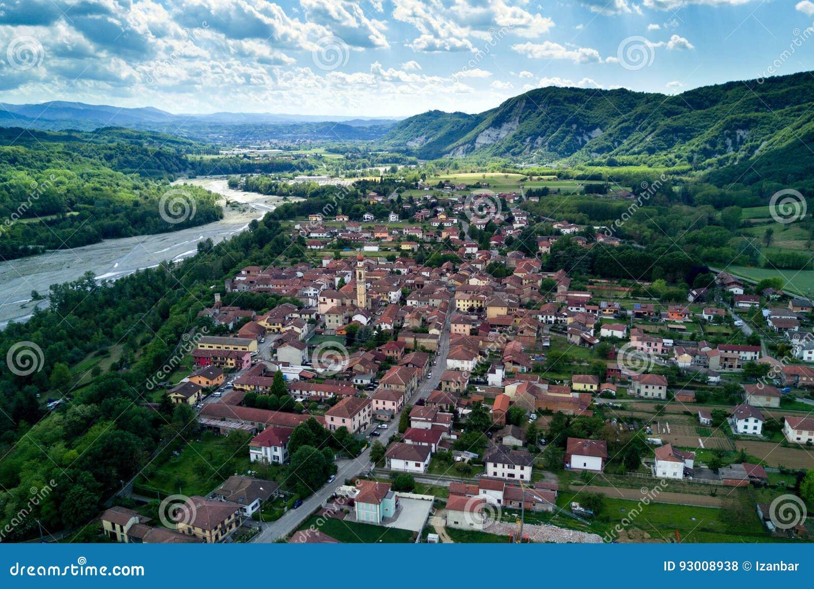 Borghetto di borbera italian countryside village aerial view stock royalty free stock photo sciox Image collections
