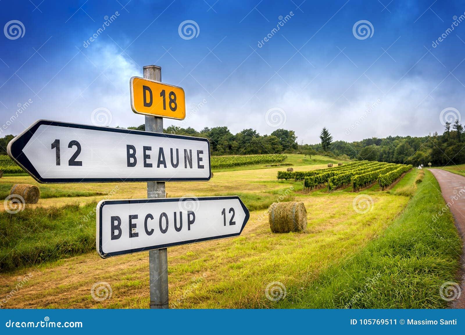 Borgoña Muestras de carretera nacional francesas del vino que llevan a los viñedos superiores de Borgoña franco