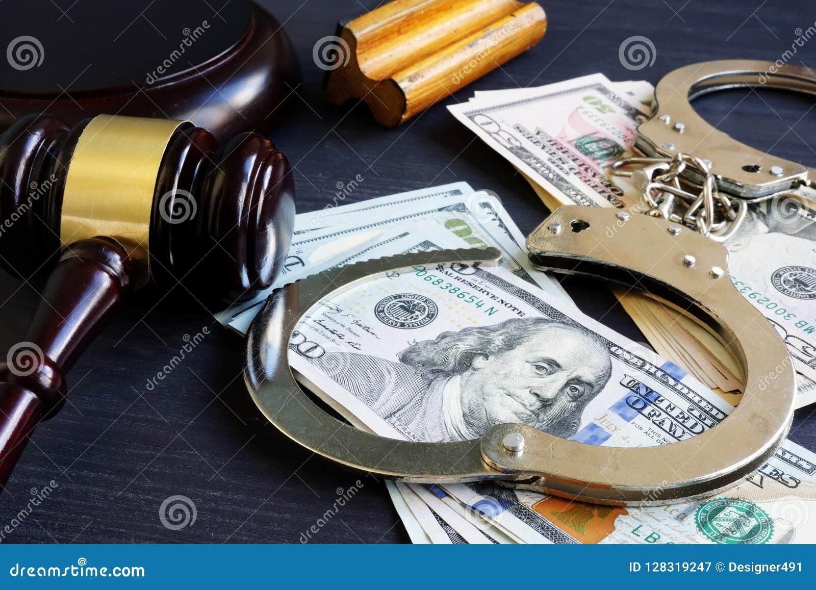 Borgtochtband corruptie Hamer, handcuffs en geld