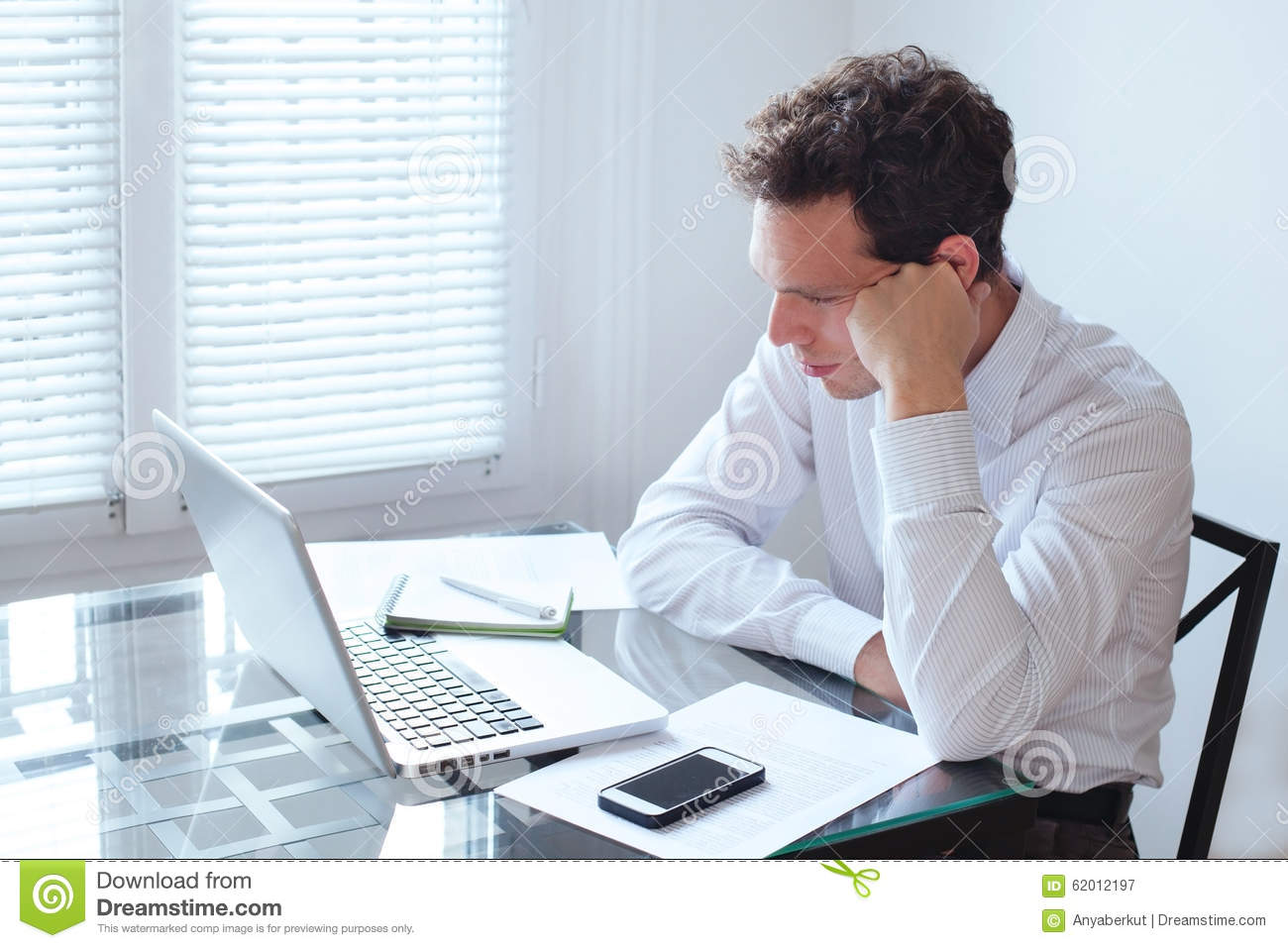 Boring Office Job : Boring job stock image of disappointed modern