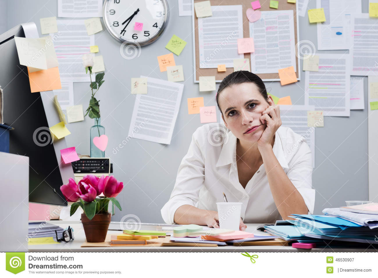 Boring Office Job : Boring job stock image of exhaustion expressing