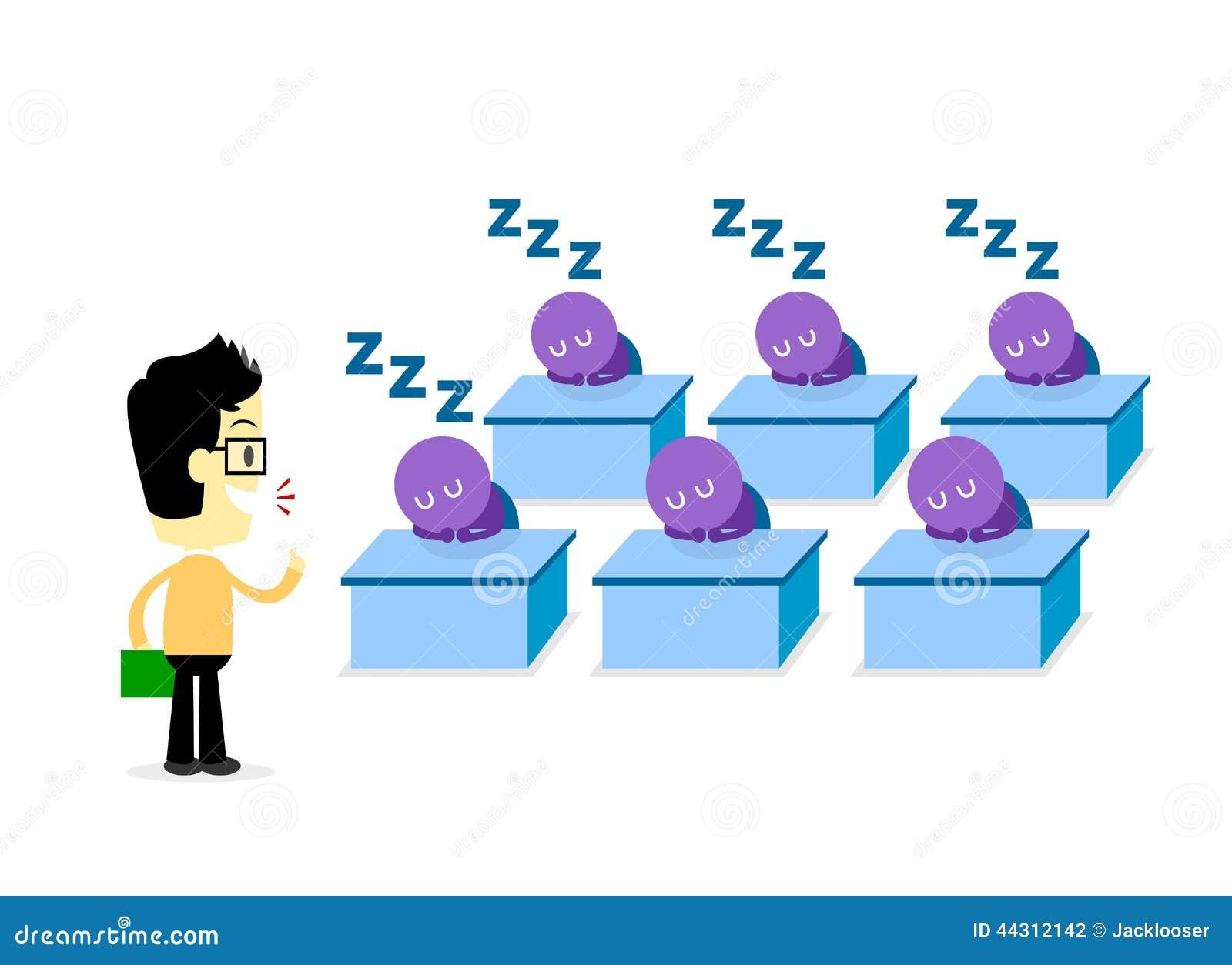 boring lecturer stock vector illustration of speech