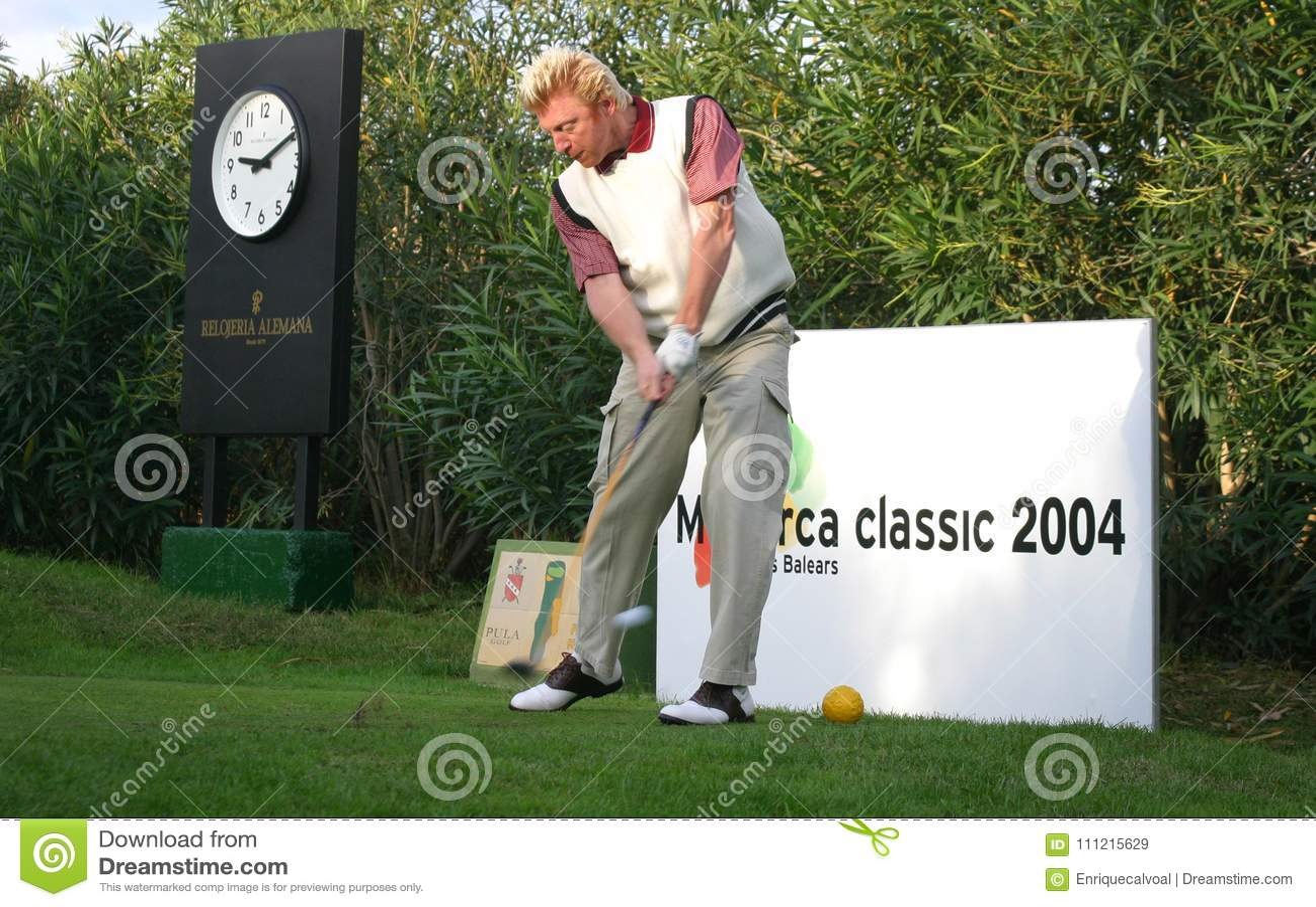 Boris Becker играя гольф в mallorca
