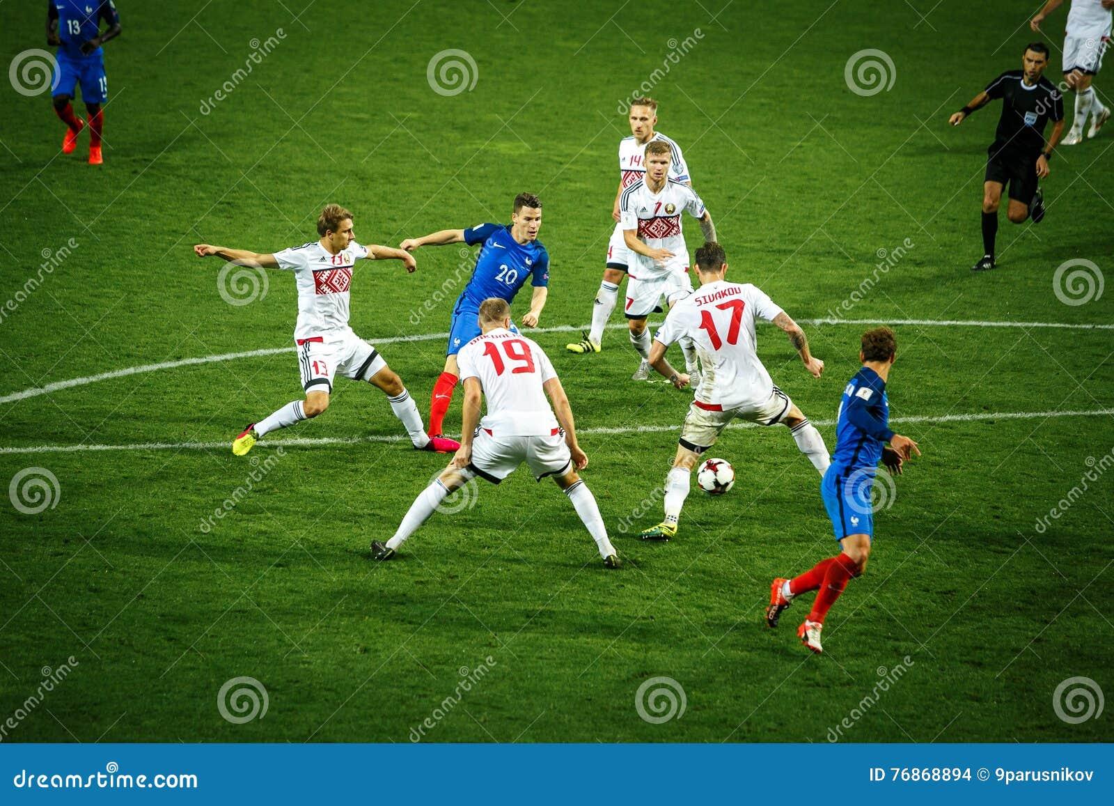 BORISSOW - WEISSRUSSLAND, IM SEPTEMBER 2016: Nationales Fußballteam Frankreichs im Match des Weltcups Qual UEFA gruppieren A