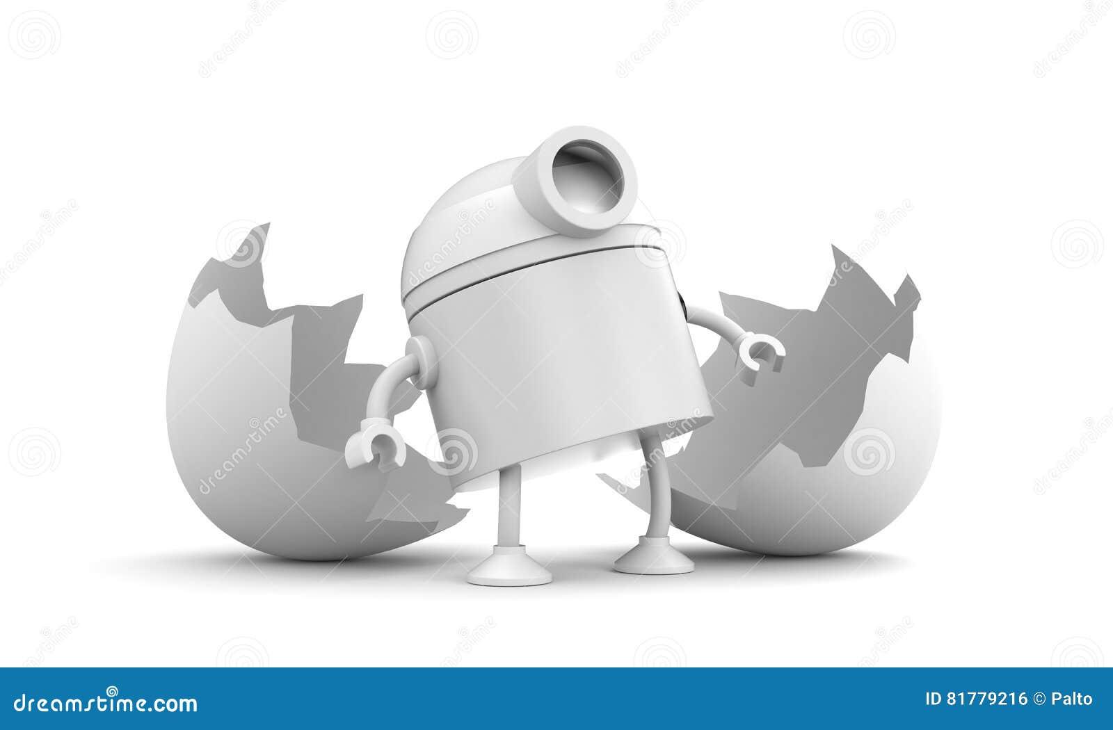 Born of robot. Broken chicken egg