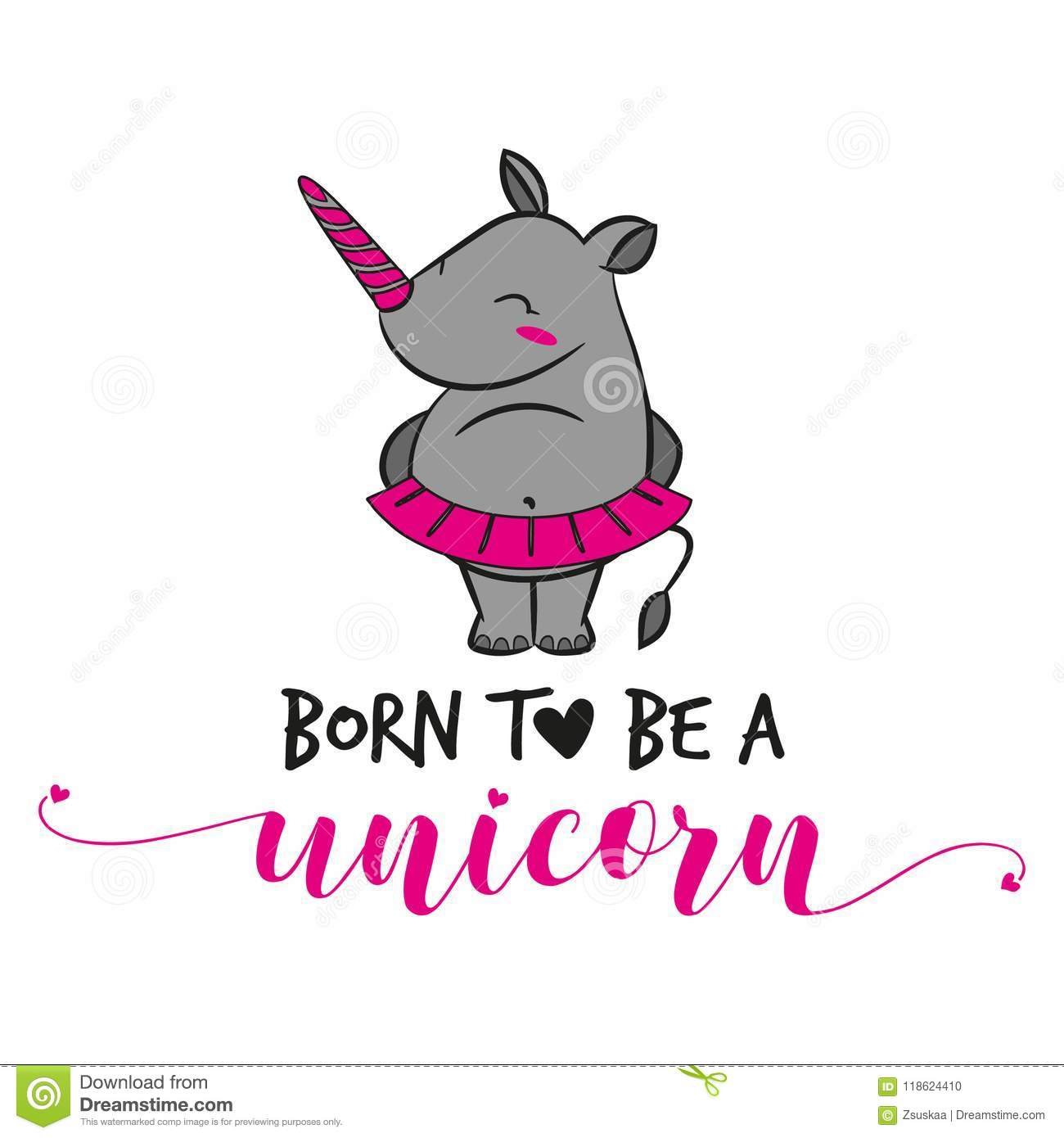 Born To Be A Unicorn Funny Vector Text Quotes Stock Vector