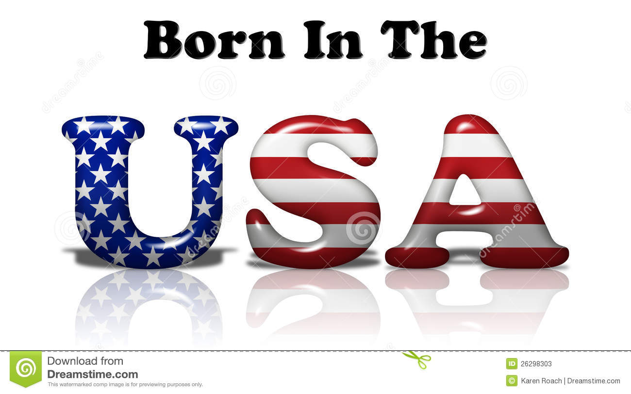 The words Born In The USA in the American flag colors on white.