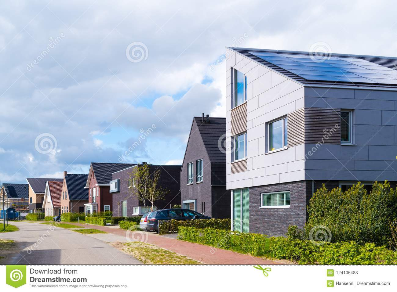 Borne netherlands april 23 2017 street with modern residential houses in the netherlands
