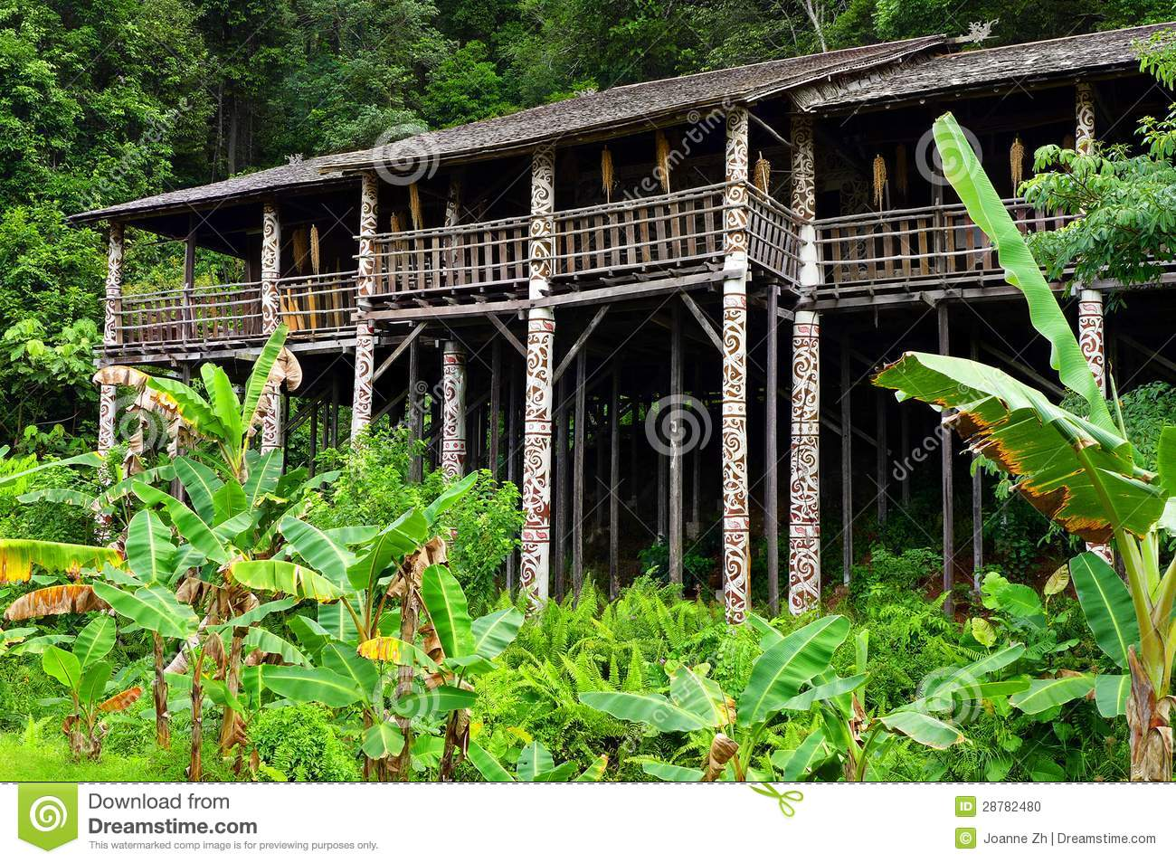 Borneo Sarawak Tribal Longhouse Architecture Stock Photo - Image ...