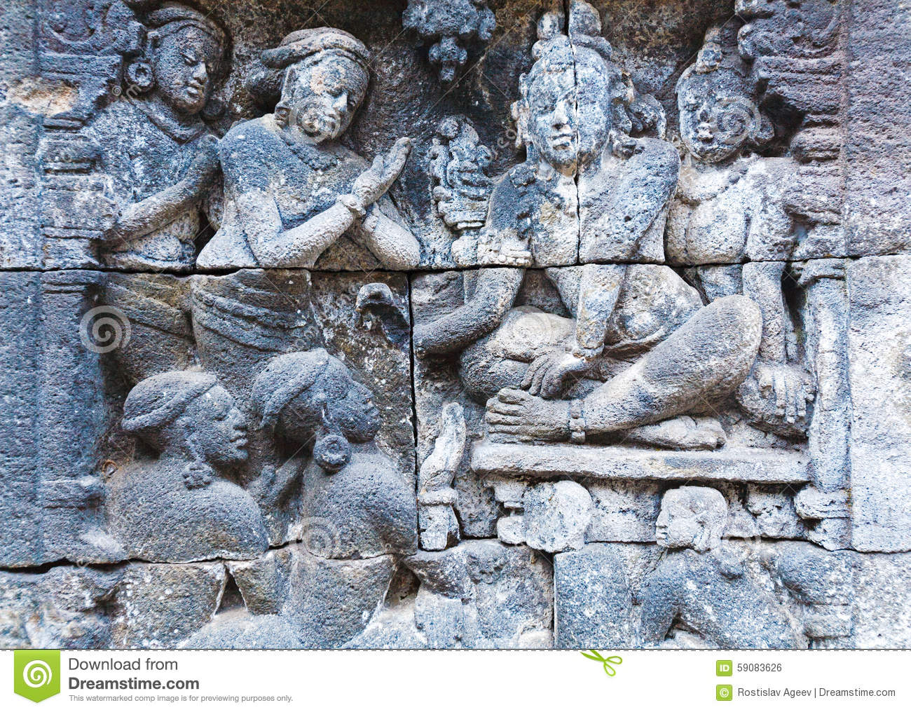 Borobudur buddhist temple with stone carving magelang