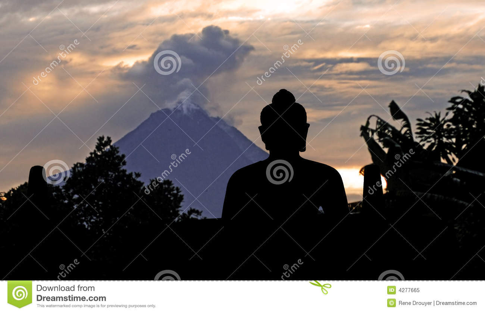 Borobudur merapi της Ινδονησίας Ιάβα