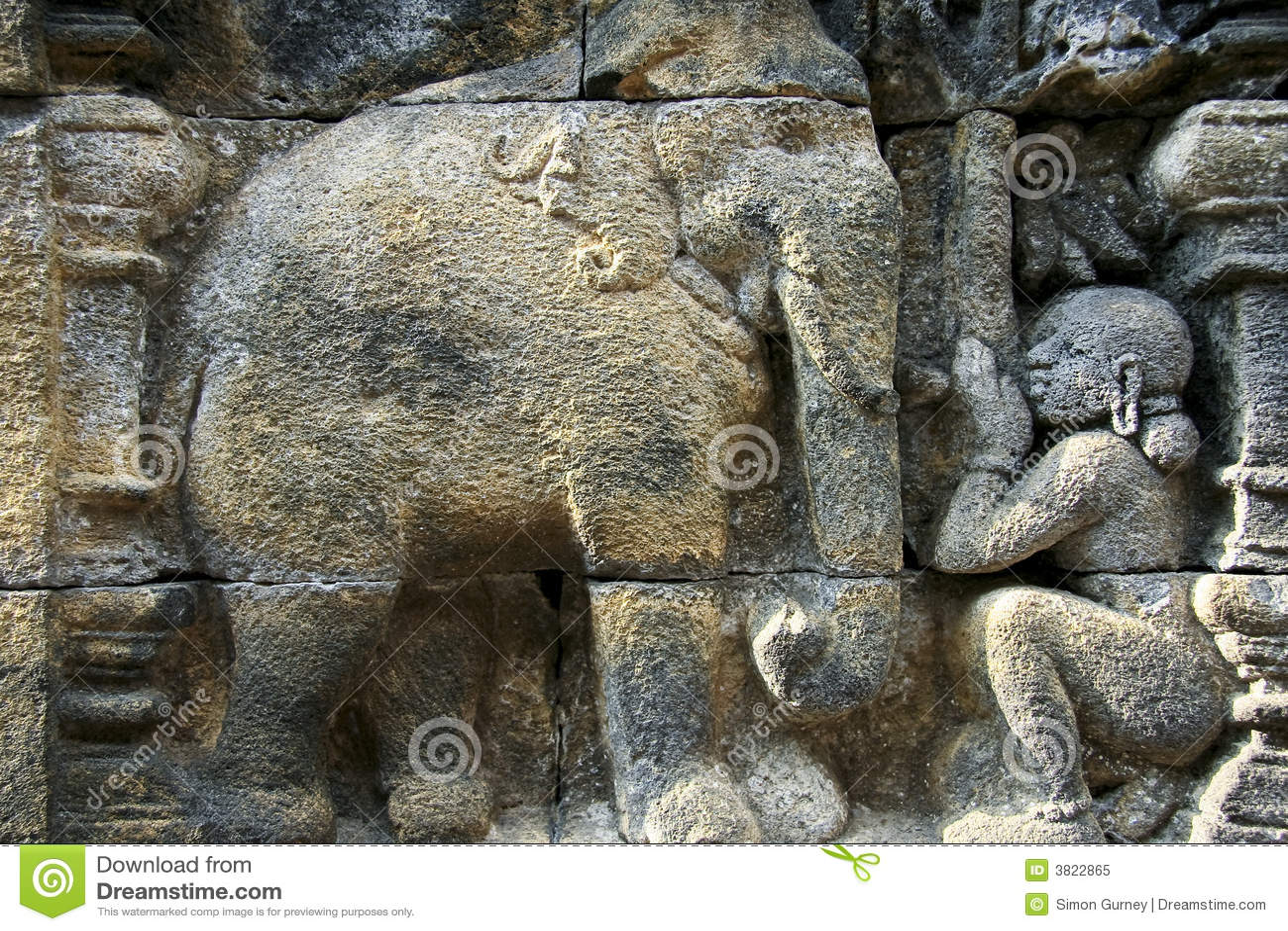 Borobudur temple ancient wall art elephant royalty free
