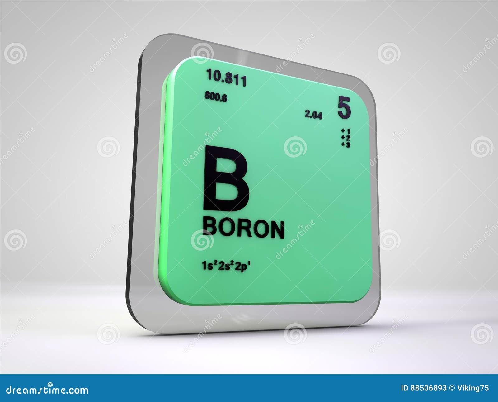 Boron B Chemical Element Periodic Table Stock Illustration