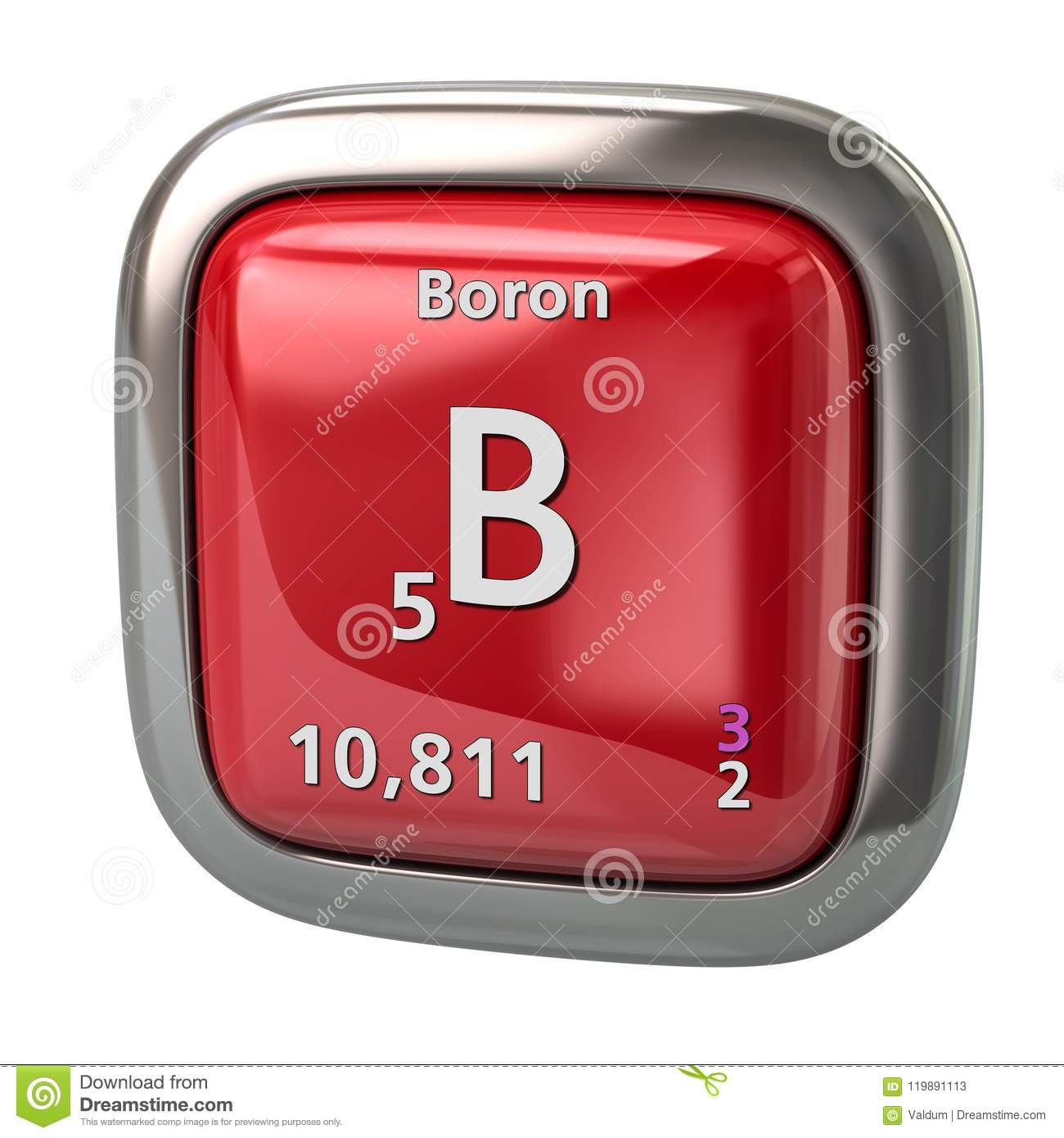 Boron B Chemical Element From The Periodic Table Red Icon ...