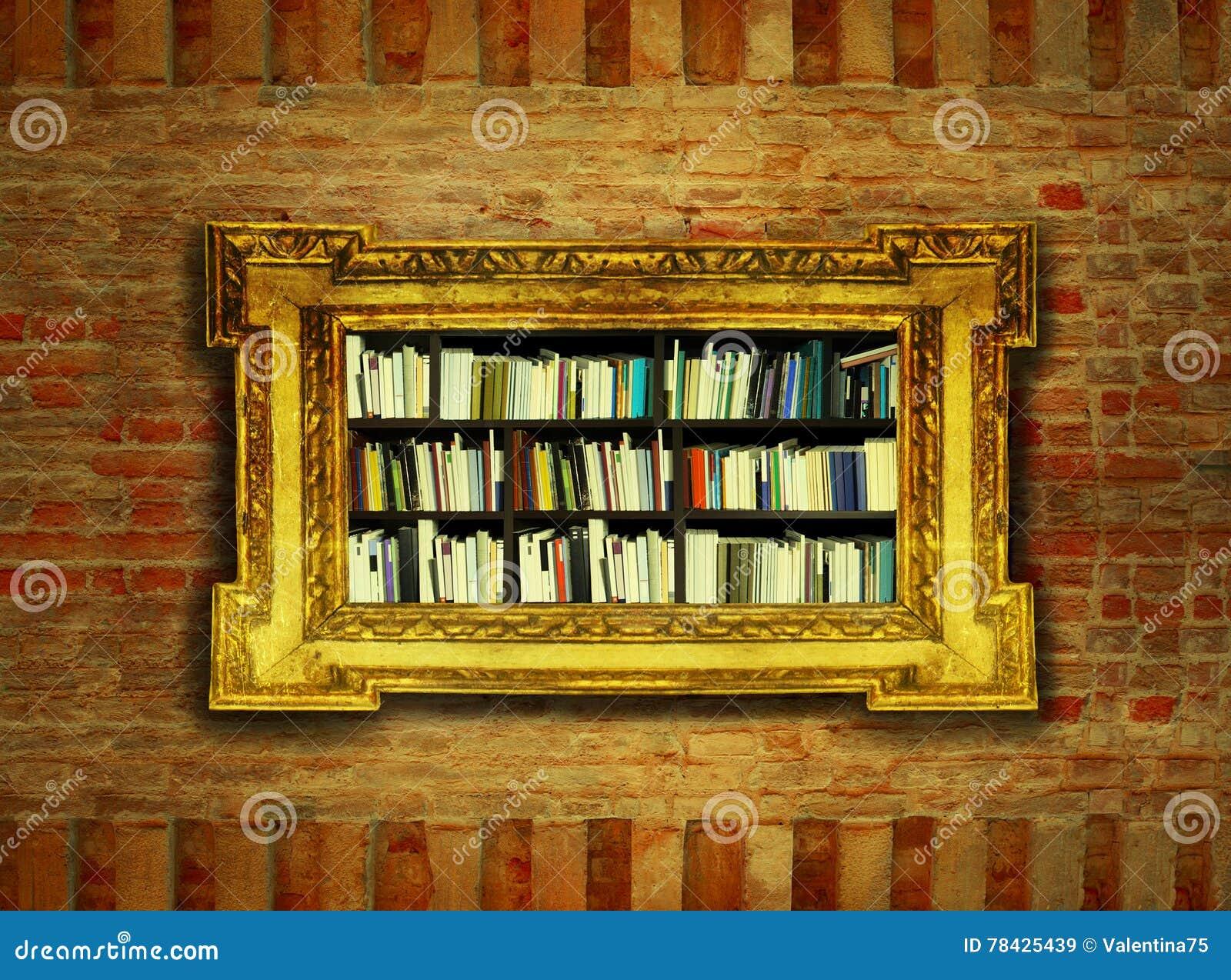 Boroque Bookcase stock image. Image of background, golden - 78425439