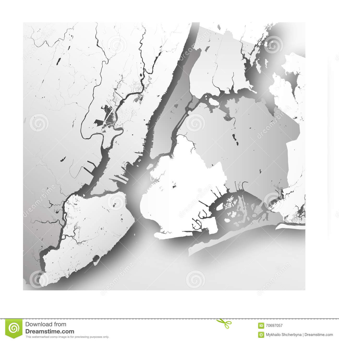 Boroughs Of New York City Outline Map Stock Vector Illustration
