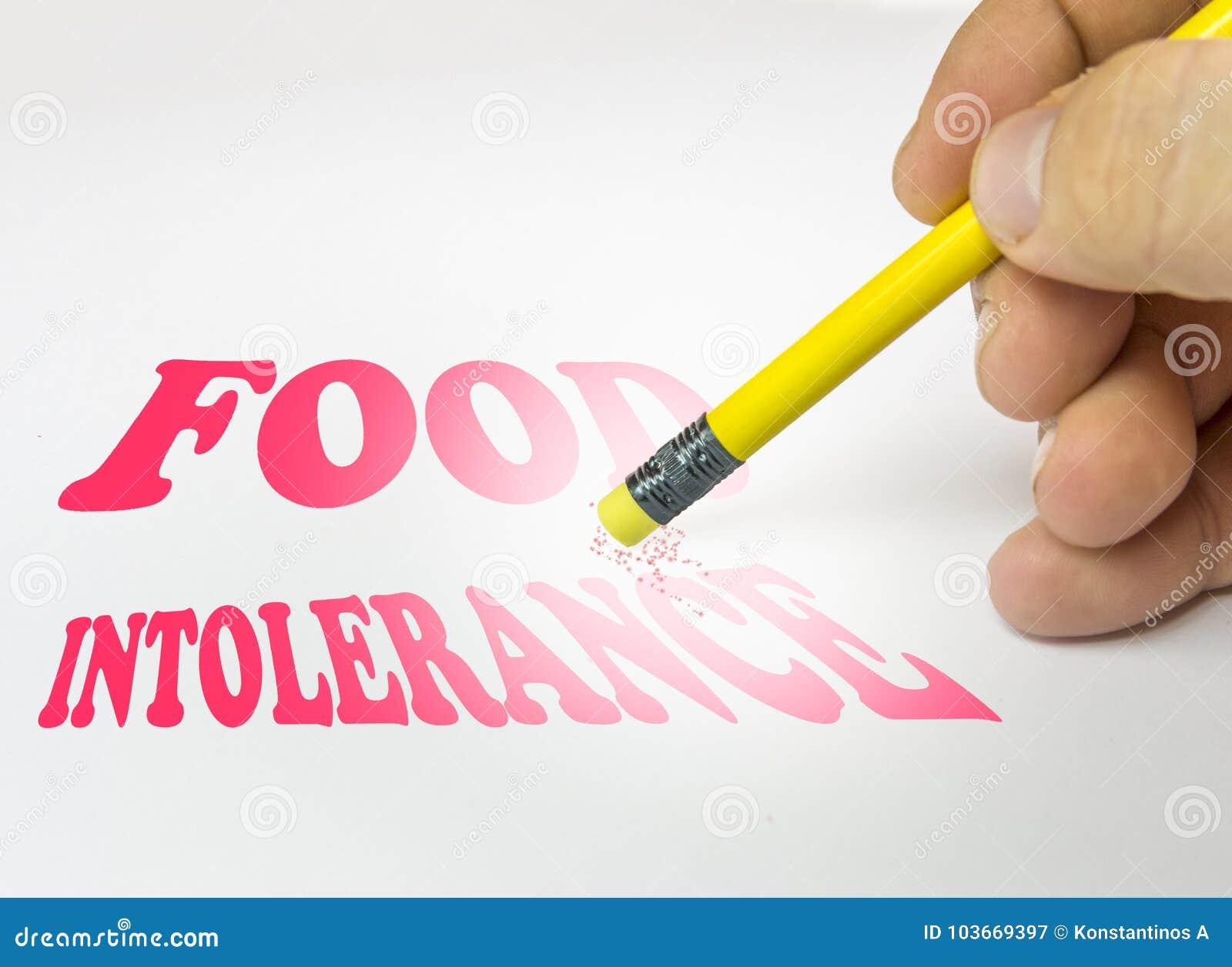 Borrado del lápiz del fondo de la intolerancia de la comida