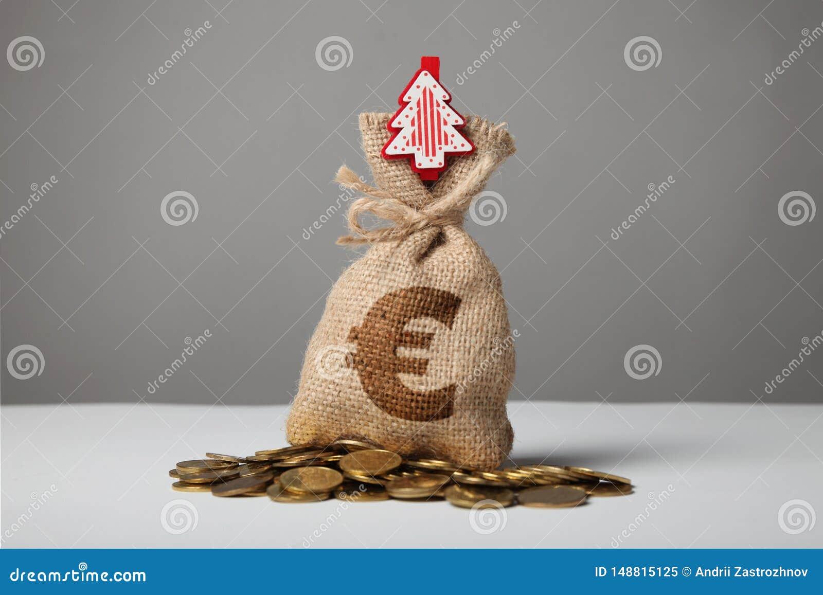 Borsa d annata con soldi, euro segno e nuovo anno ed albero di Natale